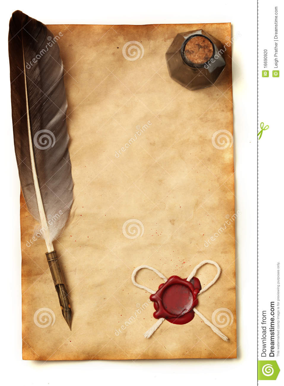 Paper With Wax Seal, Quill & Ink Stock Photo - Image: 16690920