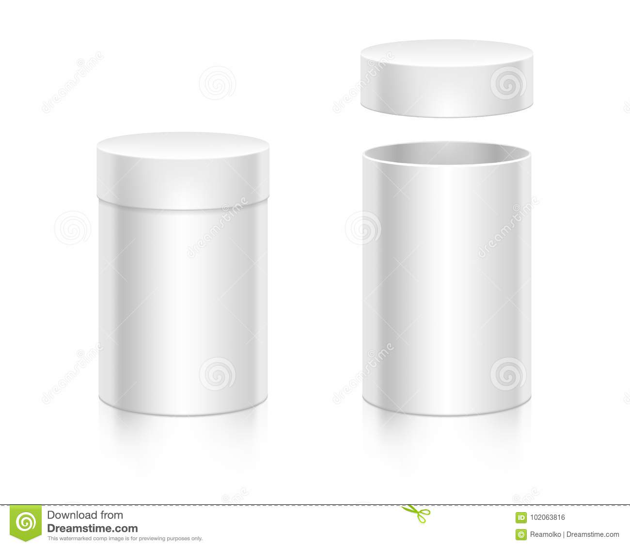 Paper White Box Mock Up Template Stock Vector Illustration Of