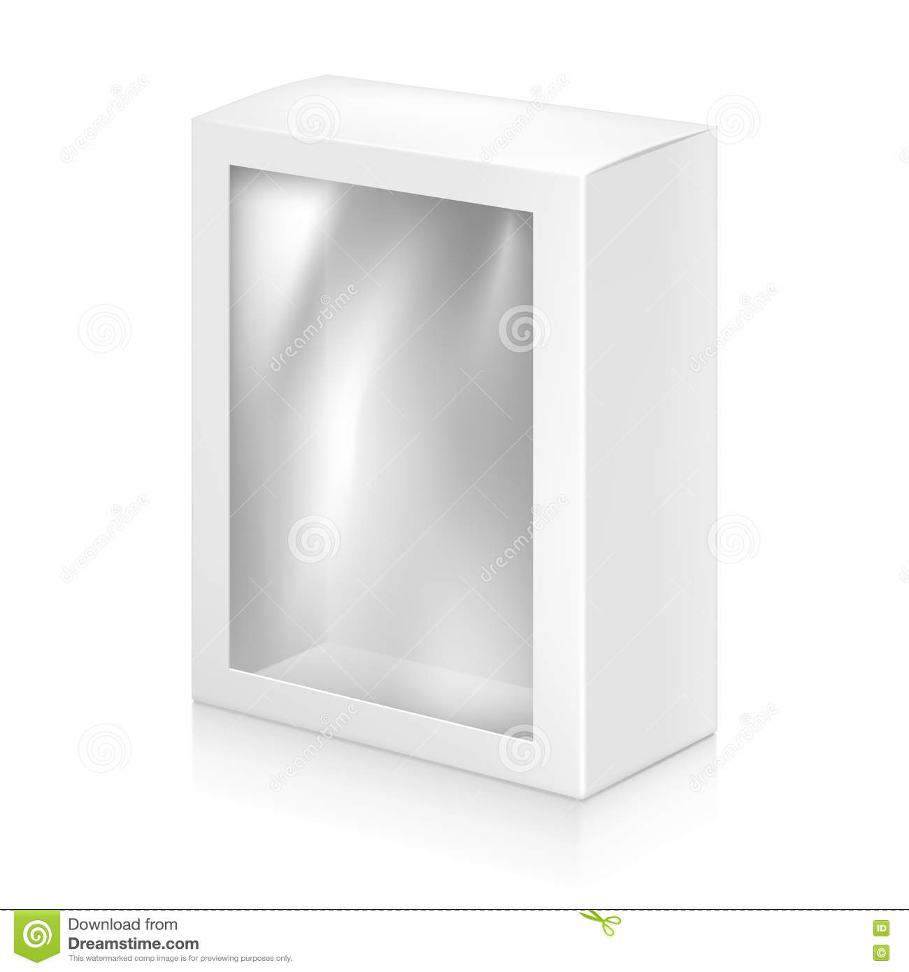 Paper white box mock up template stock vector image for Window design template
