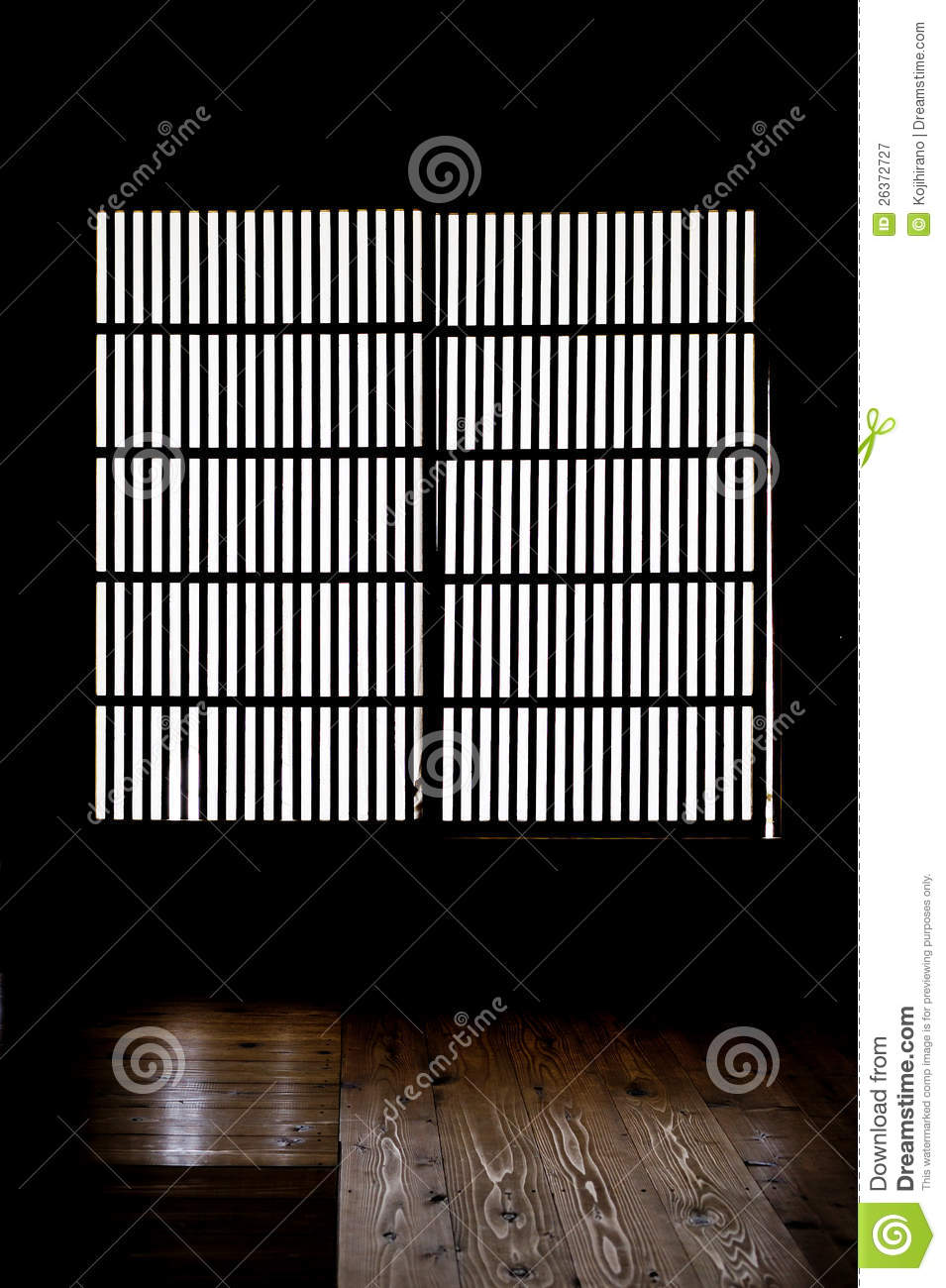 Paper Window Of Old Japanese Samurai House Royalty Free