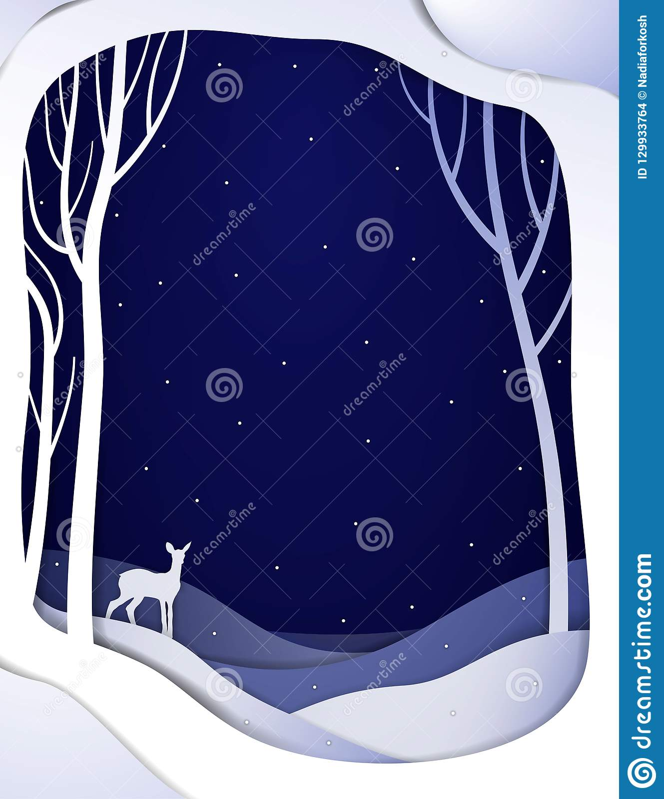 Paper winter forest night landscape with young deer, paper winter fairy tale background with bambi,