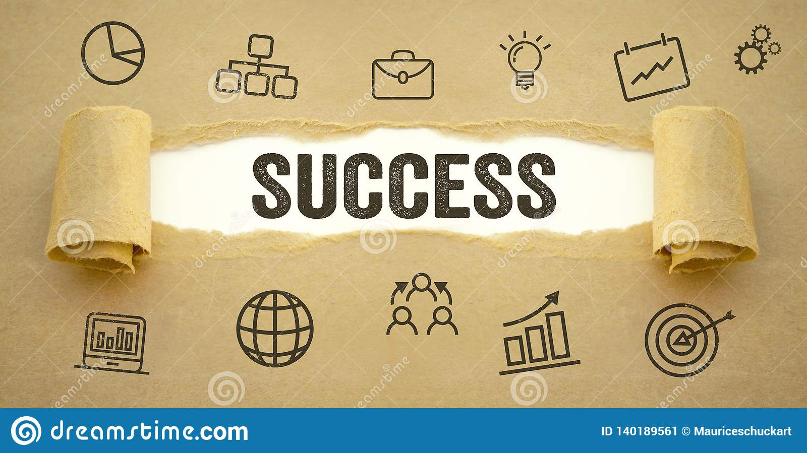 Paper work with business icon symbols and success