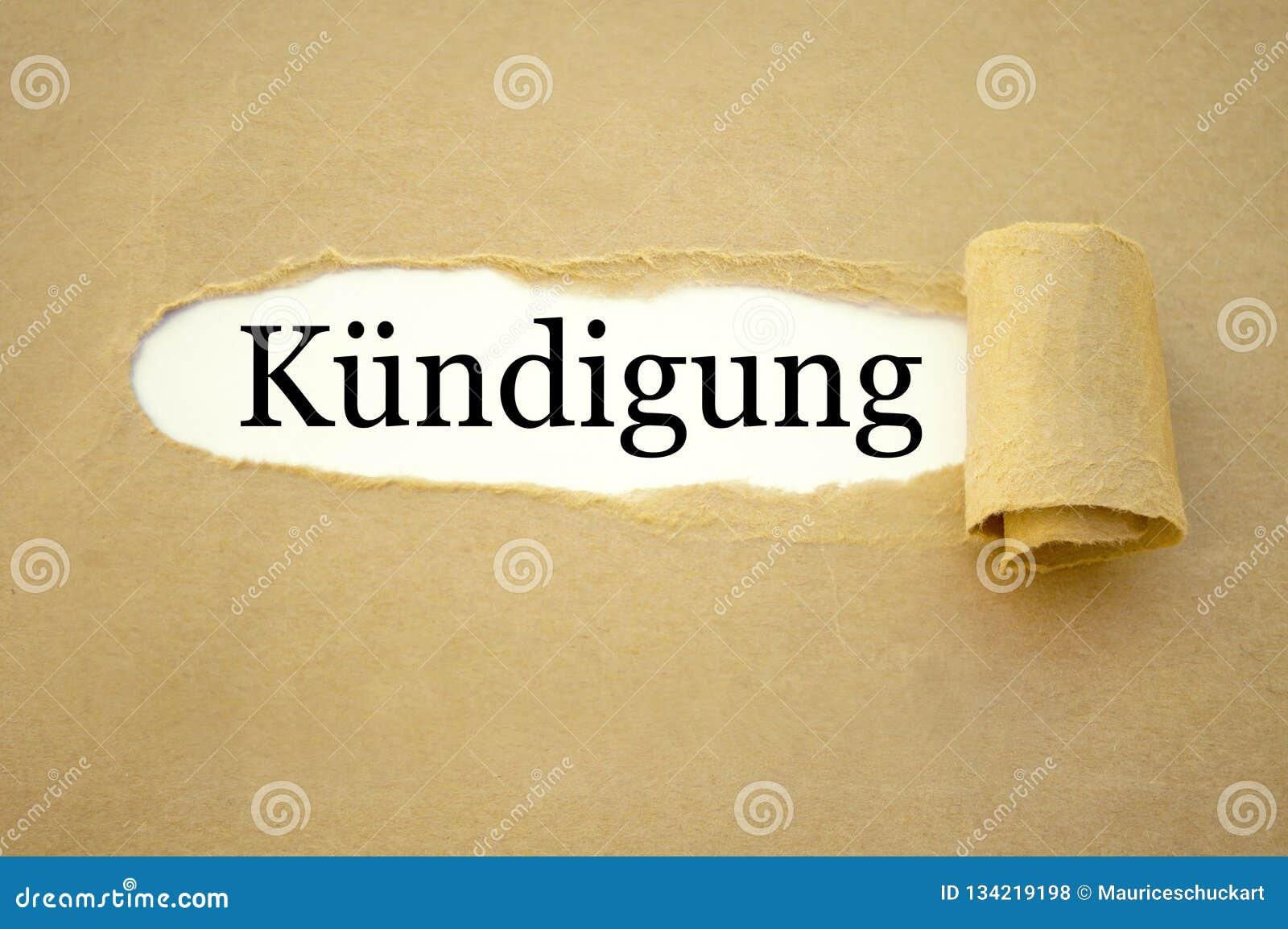 Paper work with the german word for employment termination - kündigung