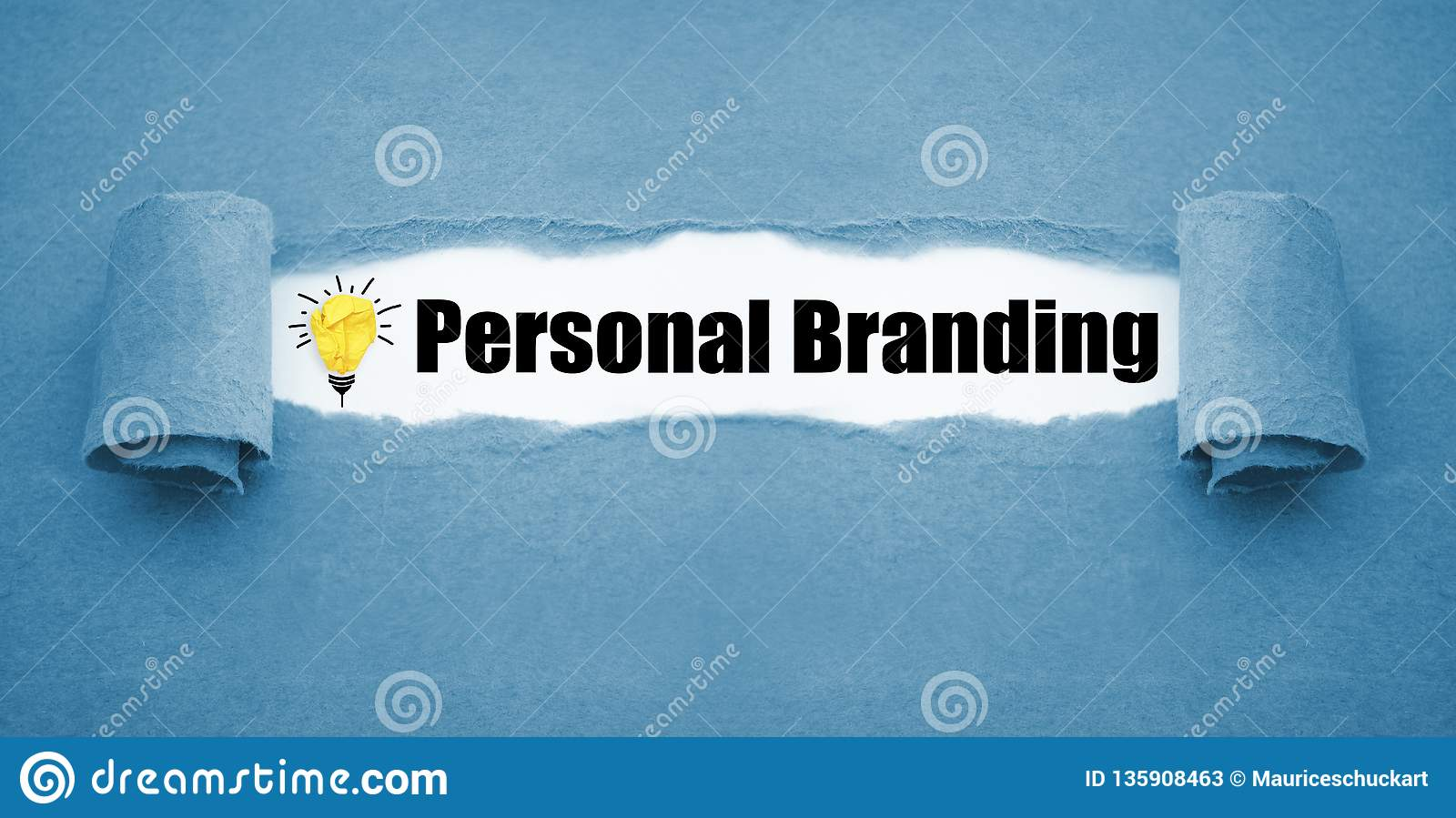 Paper work with paper light bulb and personal branding