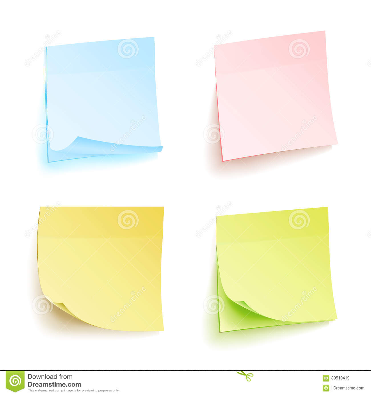 Paper Work Notes Isolated Vector Set Sticky Note Paper For