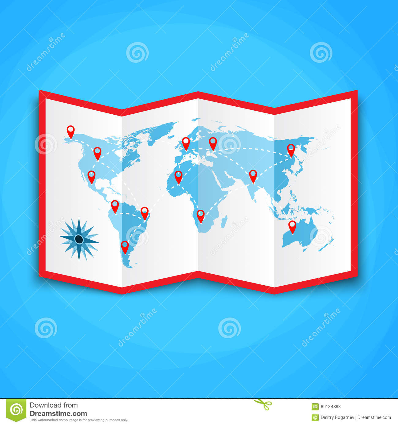 Paper world map with location icons map icon vector map vector royalty free vector download paper world map gumiabroncs Choice Image