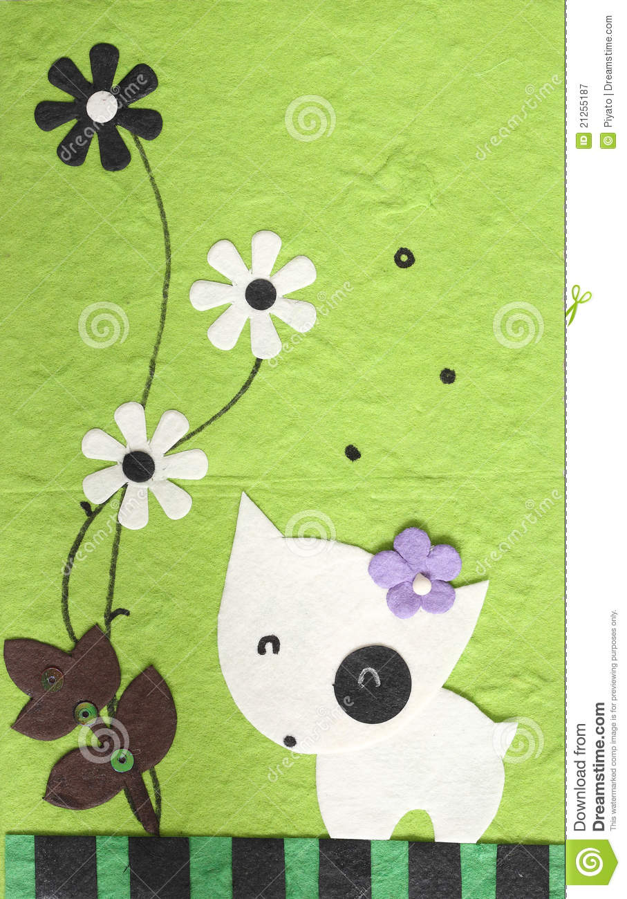 Papercraft Dog With Flower In Green Background Stock Image Image