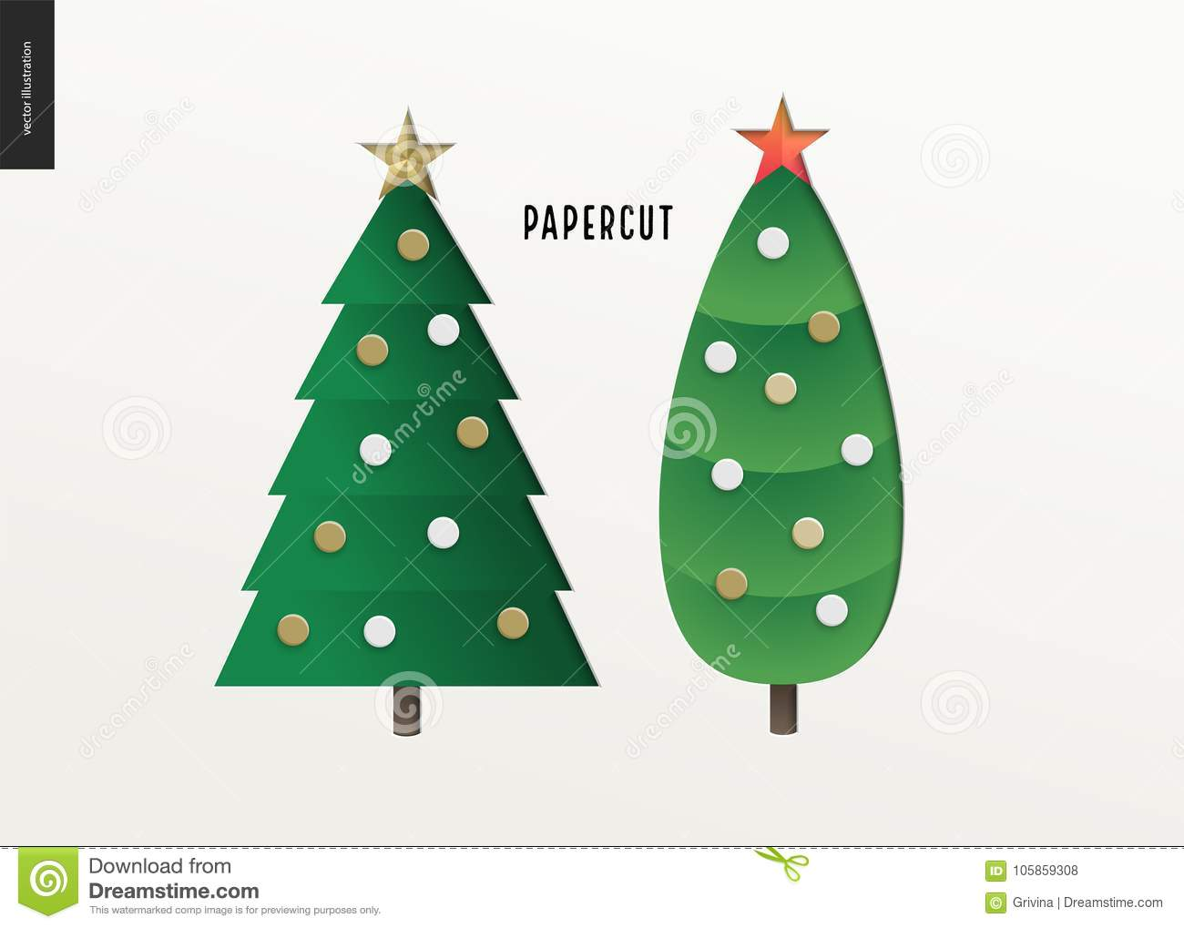 Papercut - Christmas Trees Set Stock Vector - Illustration of ...