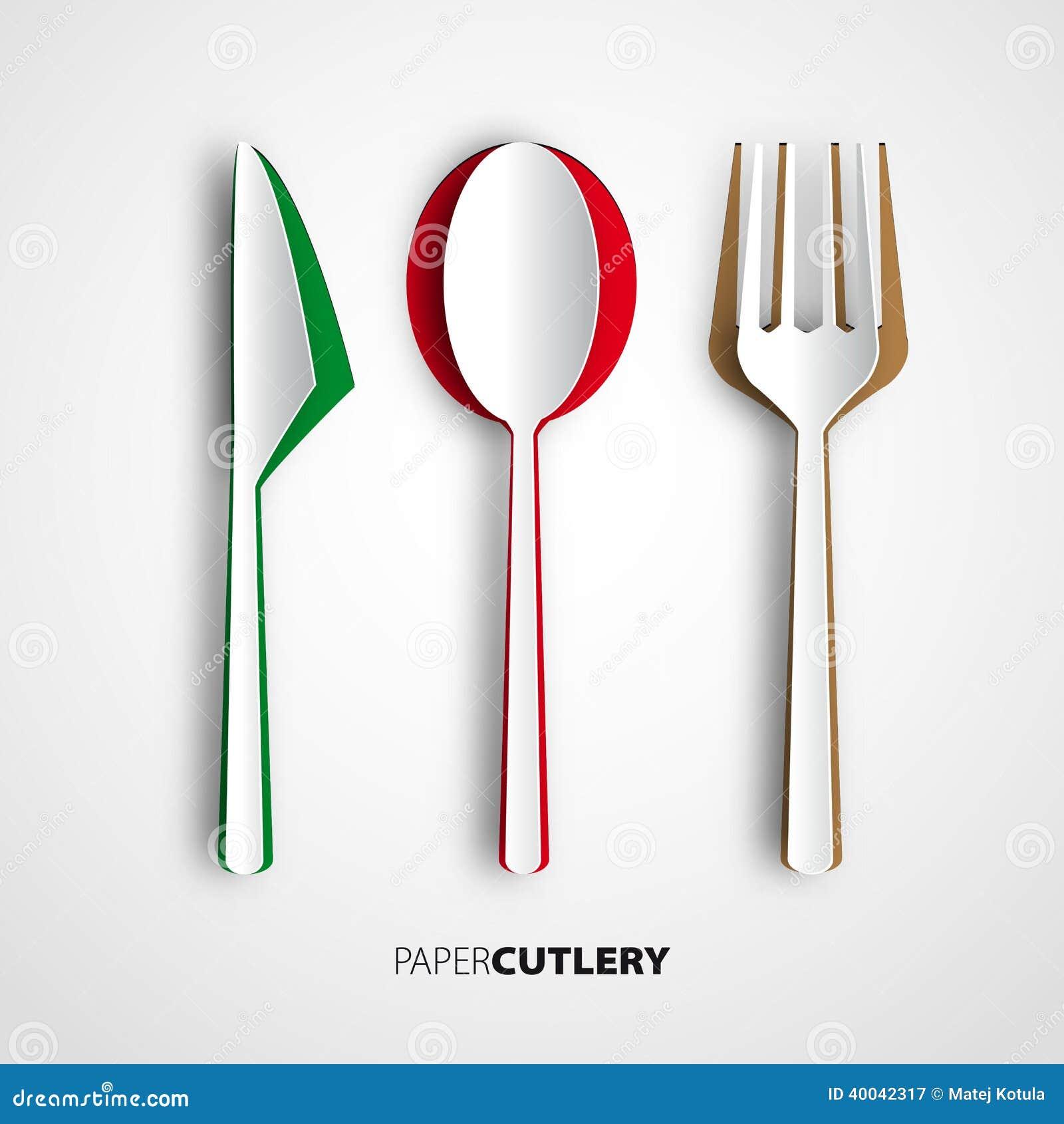 Papercut cutlery vector restaurant card menu stock