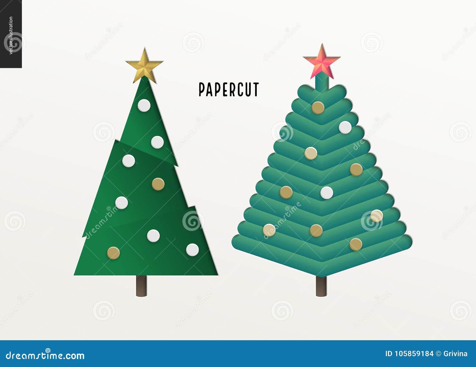 Papercut - Christmas Trees Set Stock Vector - Illustration of ...