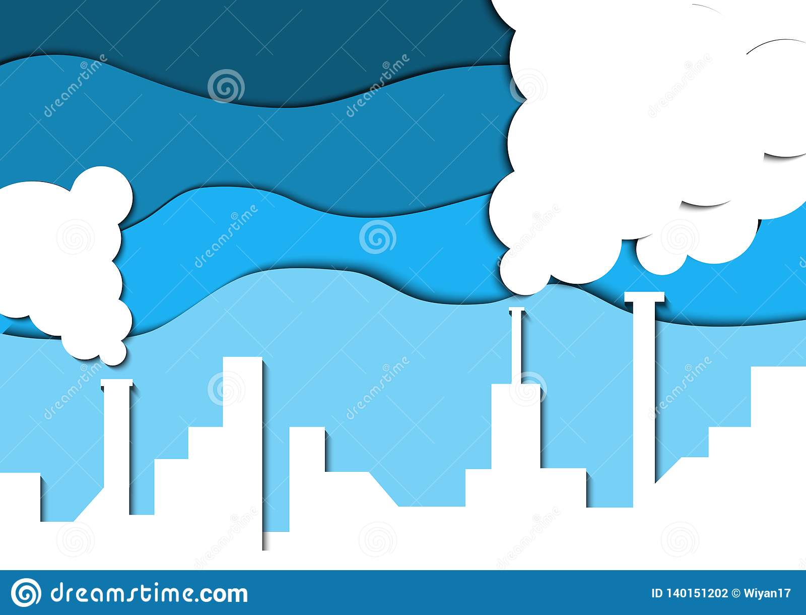 Papercut industrial pollution. Save earth.