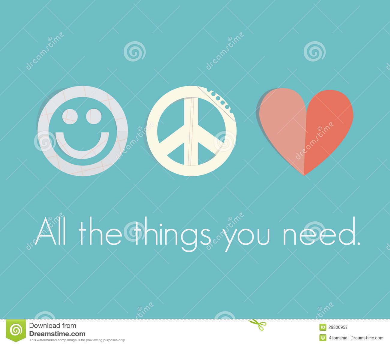 Smile Peace Love All The Things You Need Stock Vector