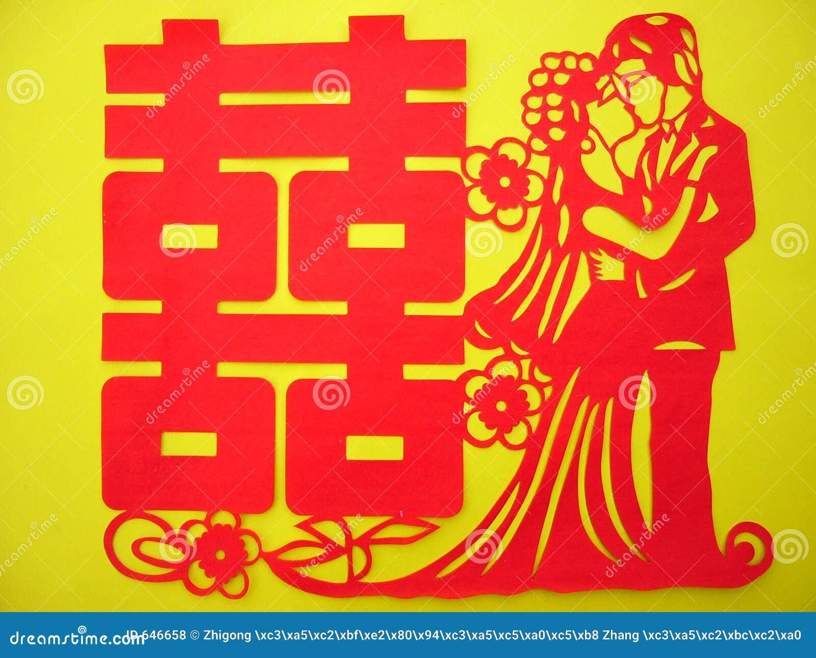 Papercutting chino: Felicidad doble roja (vetical)