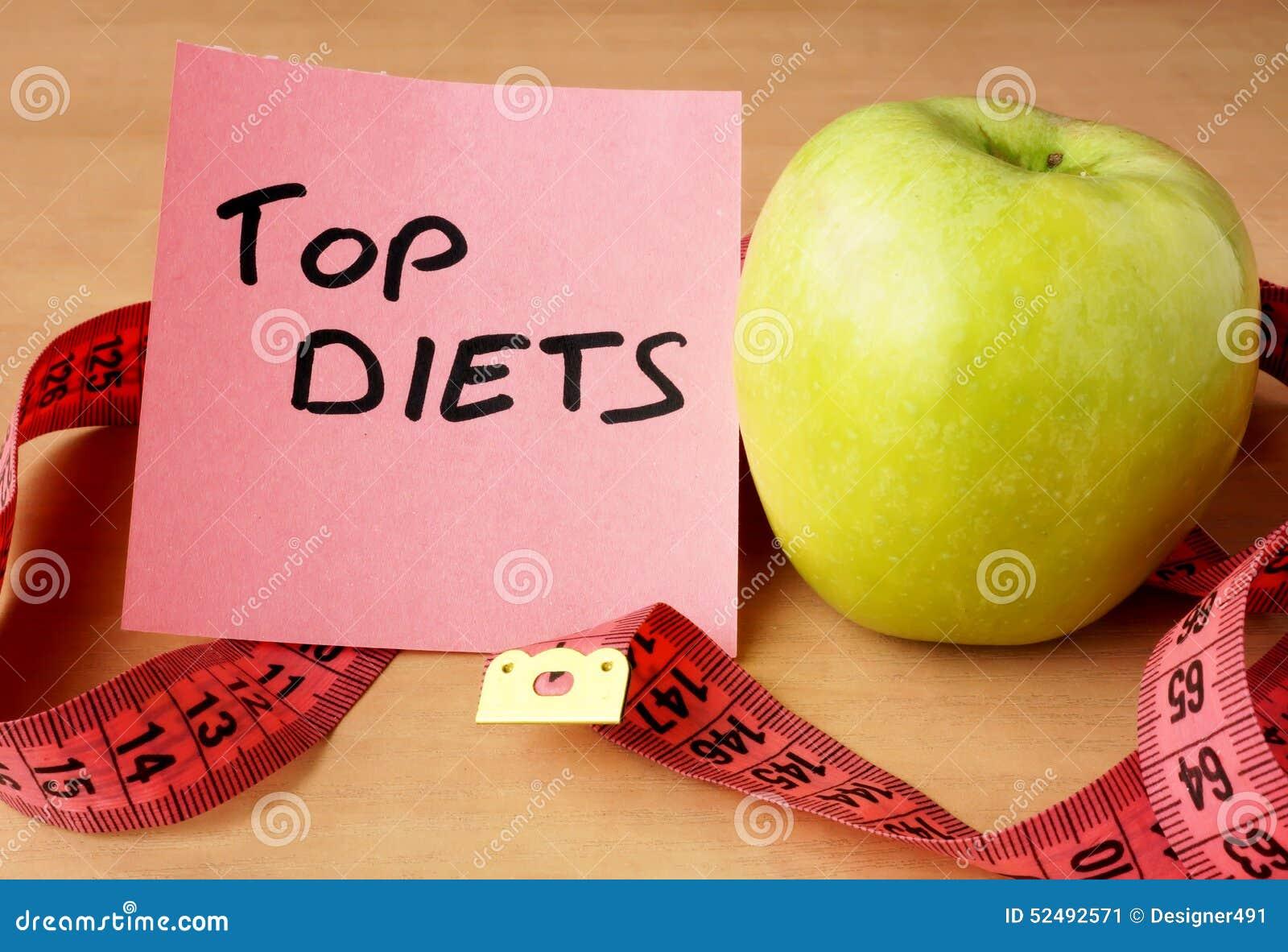 Papier avec les régimes de dessus, la pomme et la bande de mesure