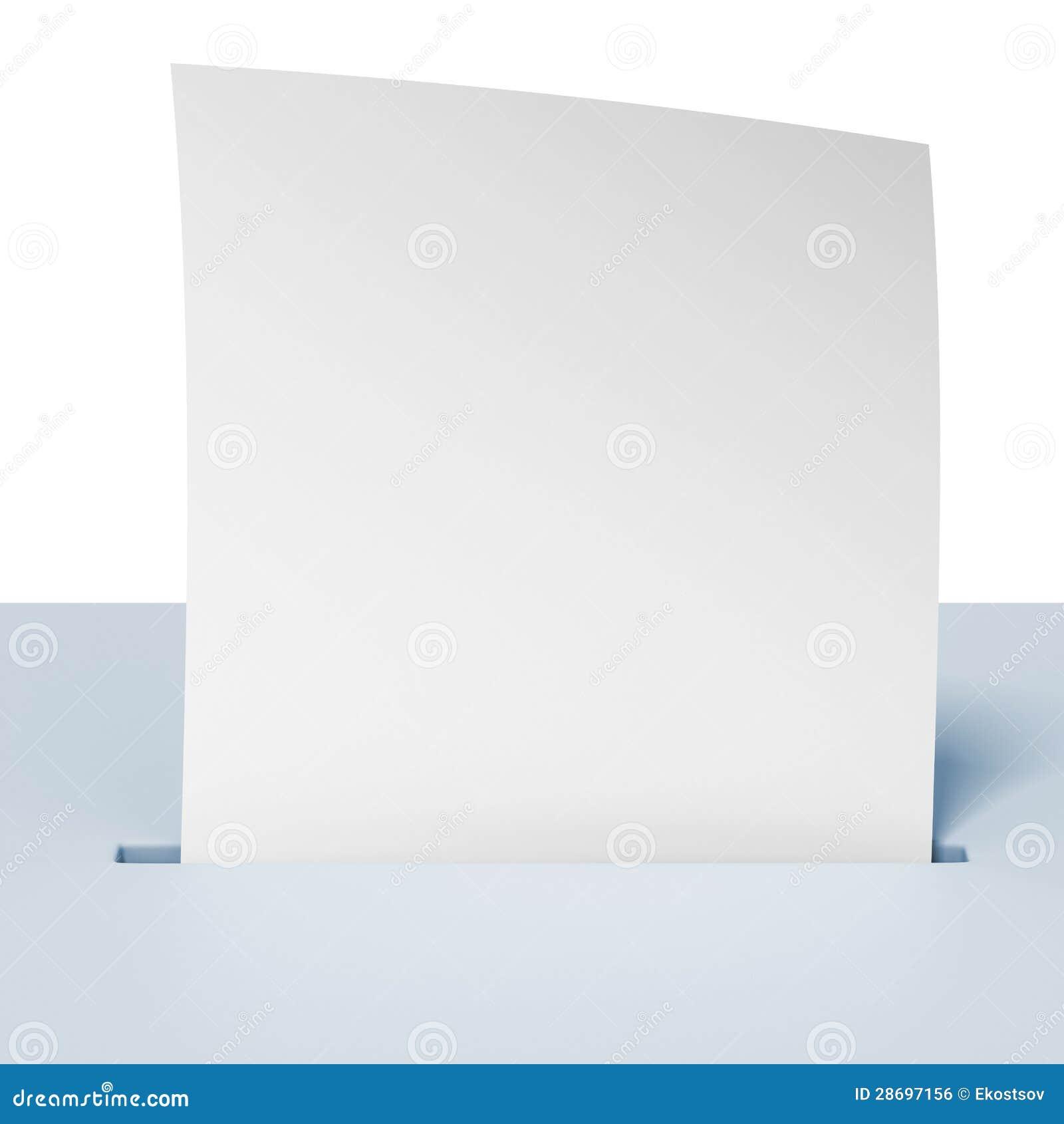 Papier blanc dans une urne bleue