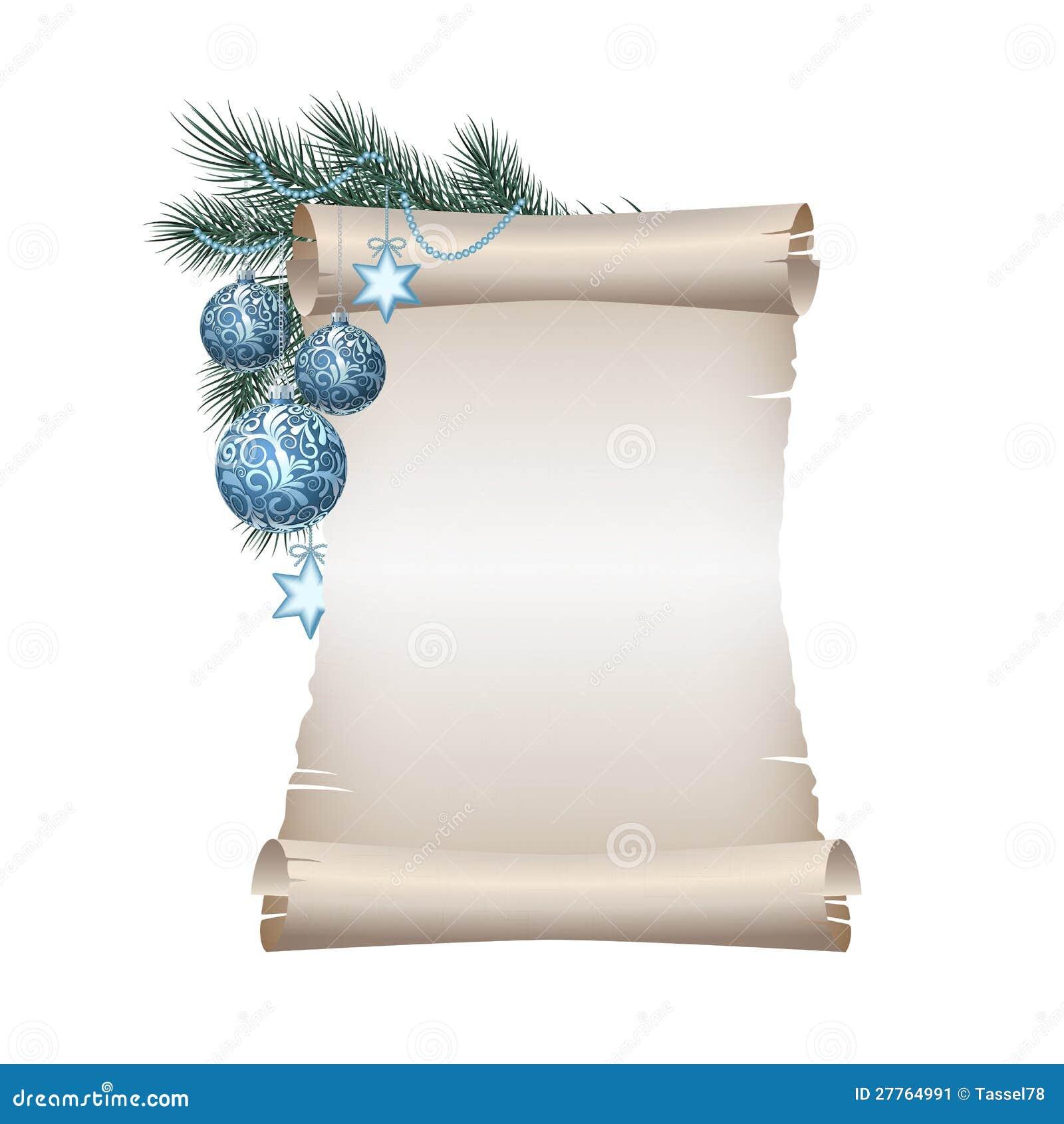 Papier blanc de défilement de Noël sur le fond blanc