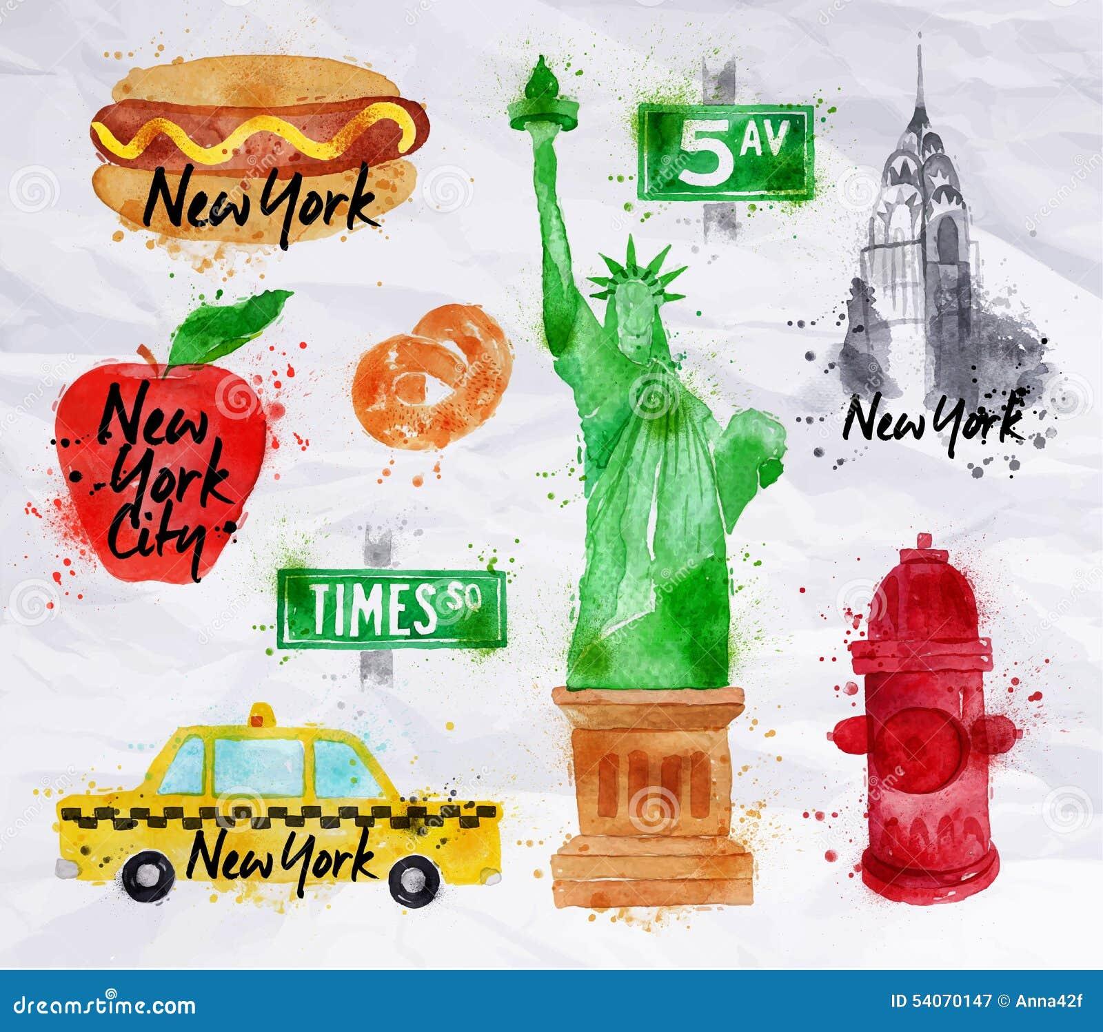 Papier Crumled Par Symboles De New York Illustration De