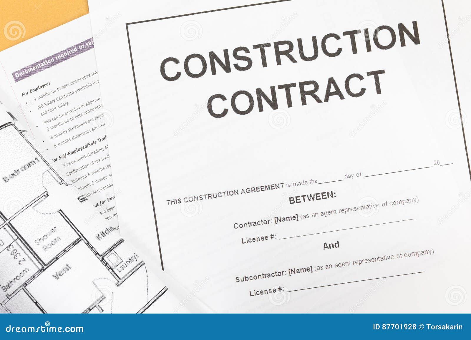 Papier de contrat de construction