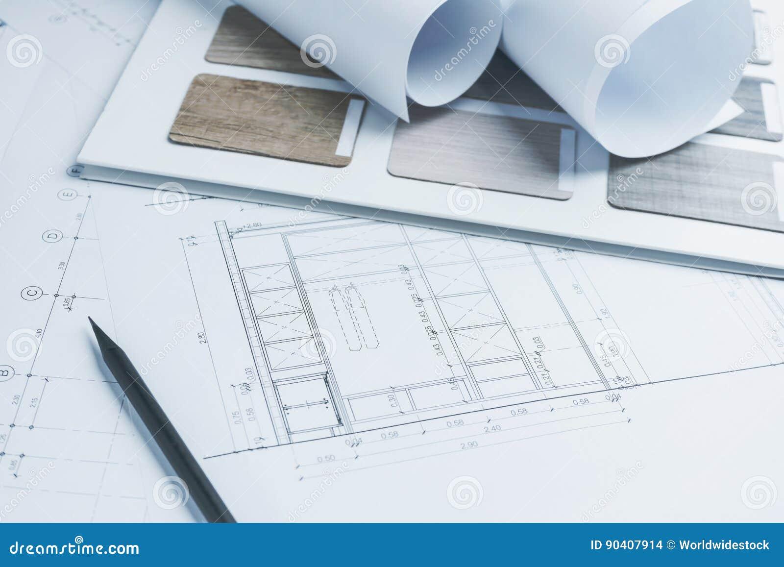 Papier de dessins architectural avec des échantillons de couleur et de matériel pour