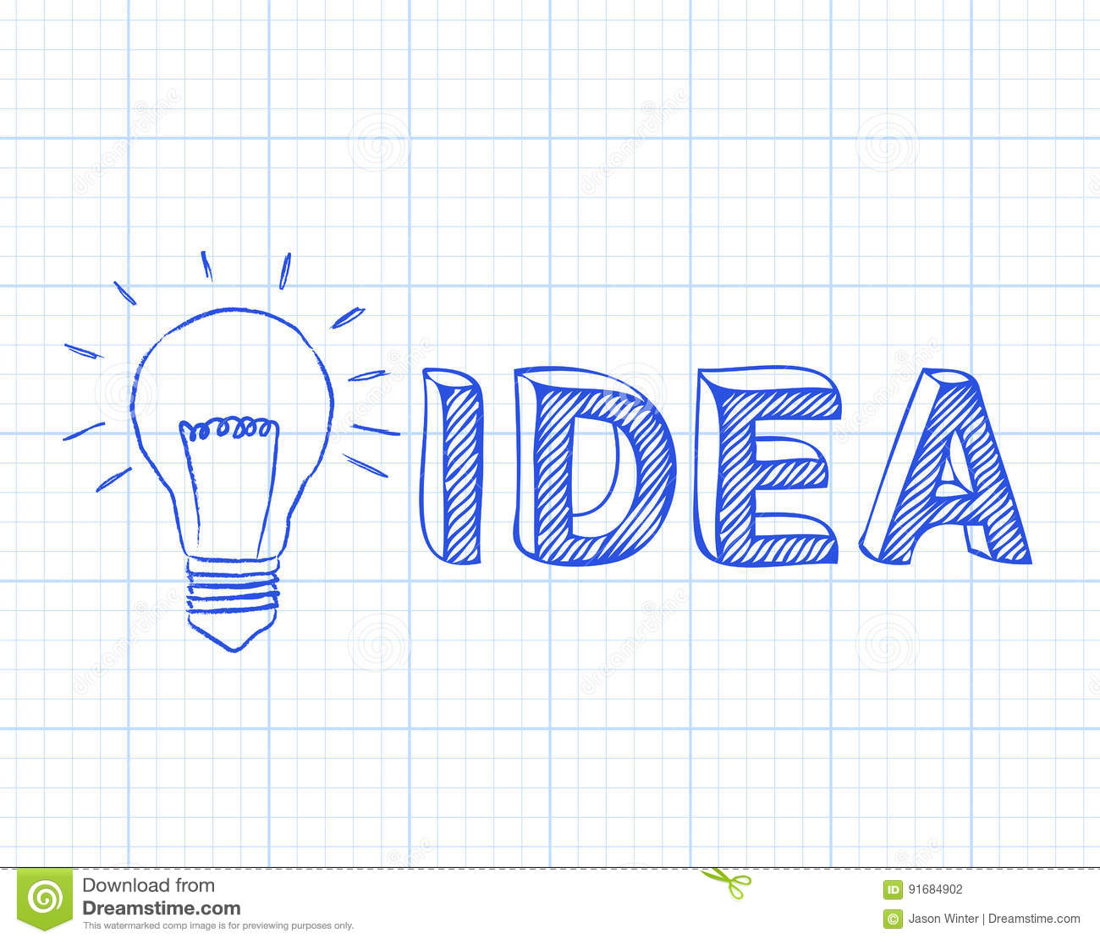 Papier de graphique d idée d ampoule