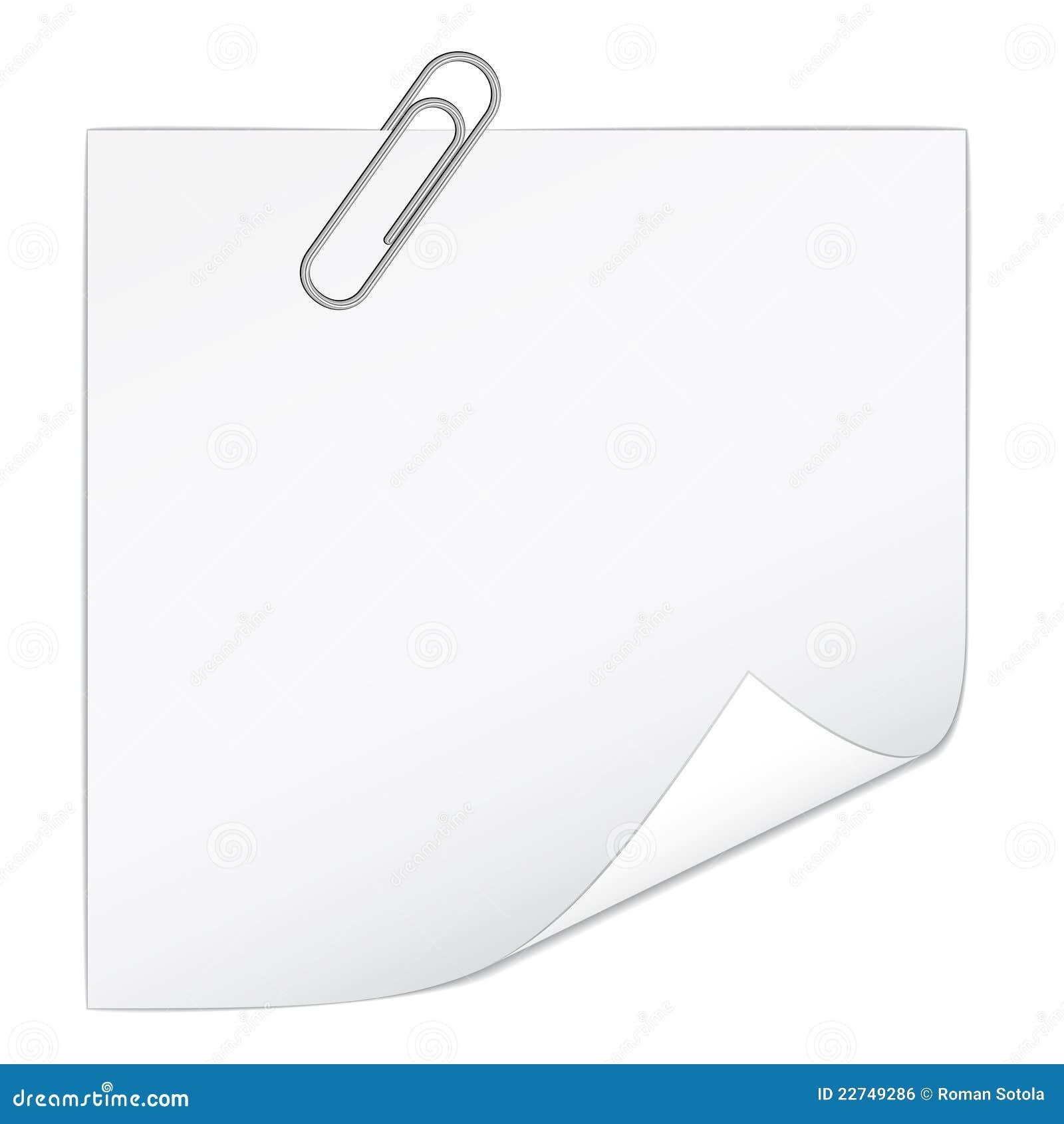 papier de note blanc avec le trombone illustration de vecteur image 22749286. Black Bedroom Furniture Sets. Home Design Ideas