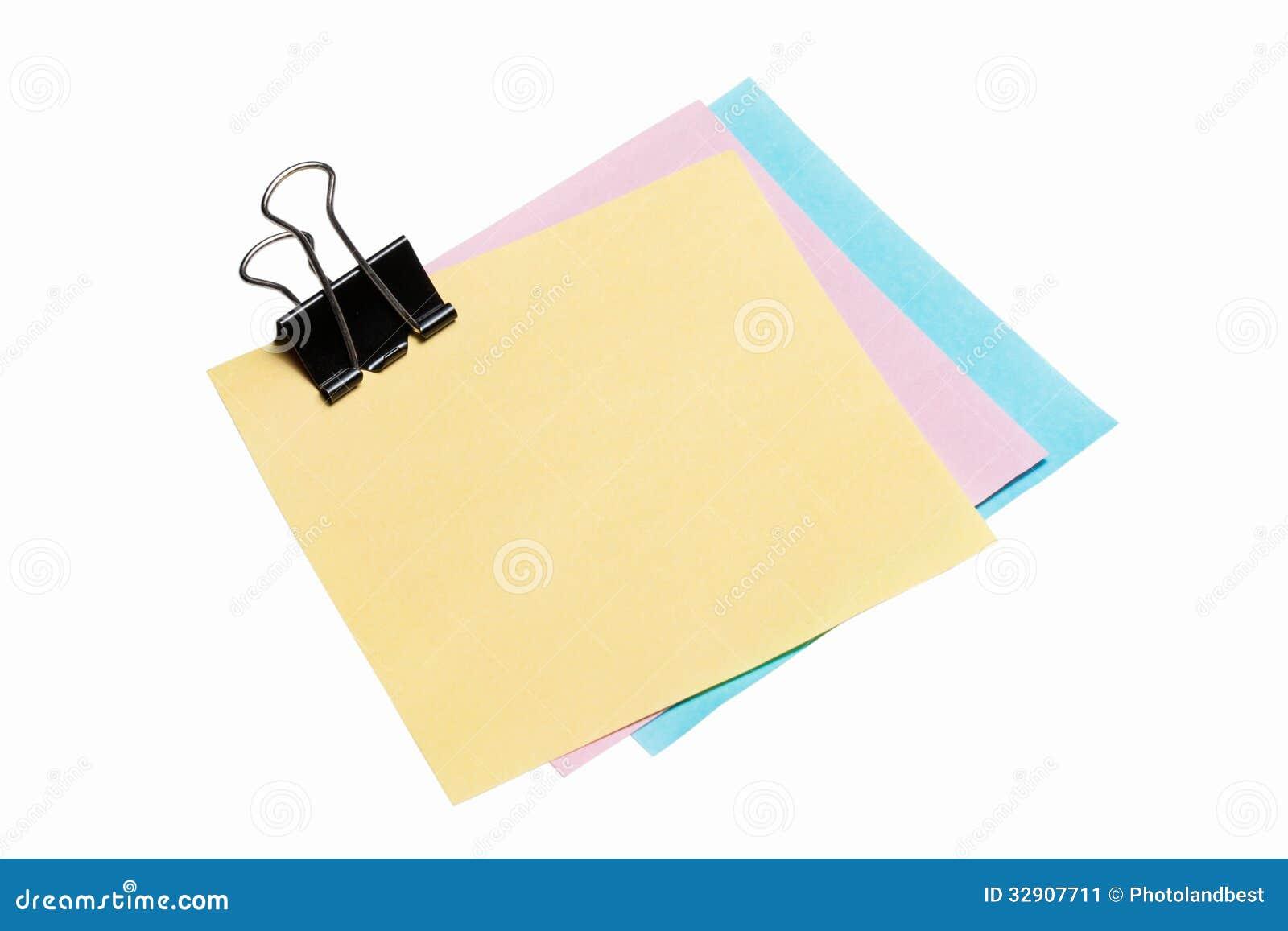 Papier de note de post-it avec l agrafe de reliure