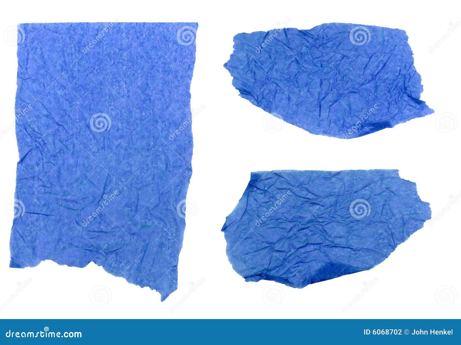 Papier de soie de soie bleu déchiré