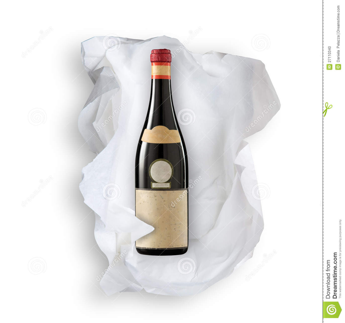 papier de soie de soie et bouteille de vin photo stock image 27110340. Black Bedroom Furniture Sets. Home Design Ideas