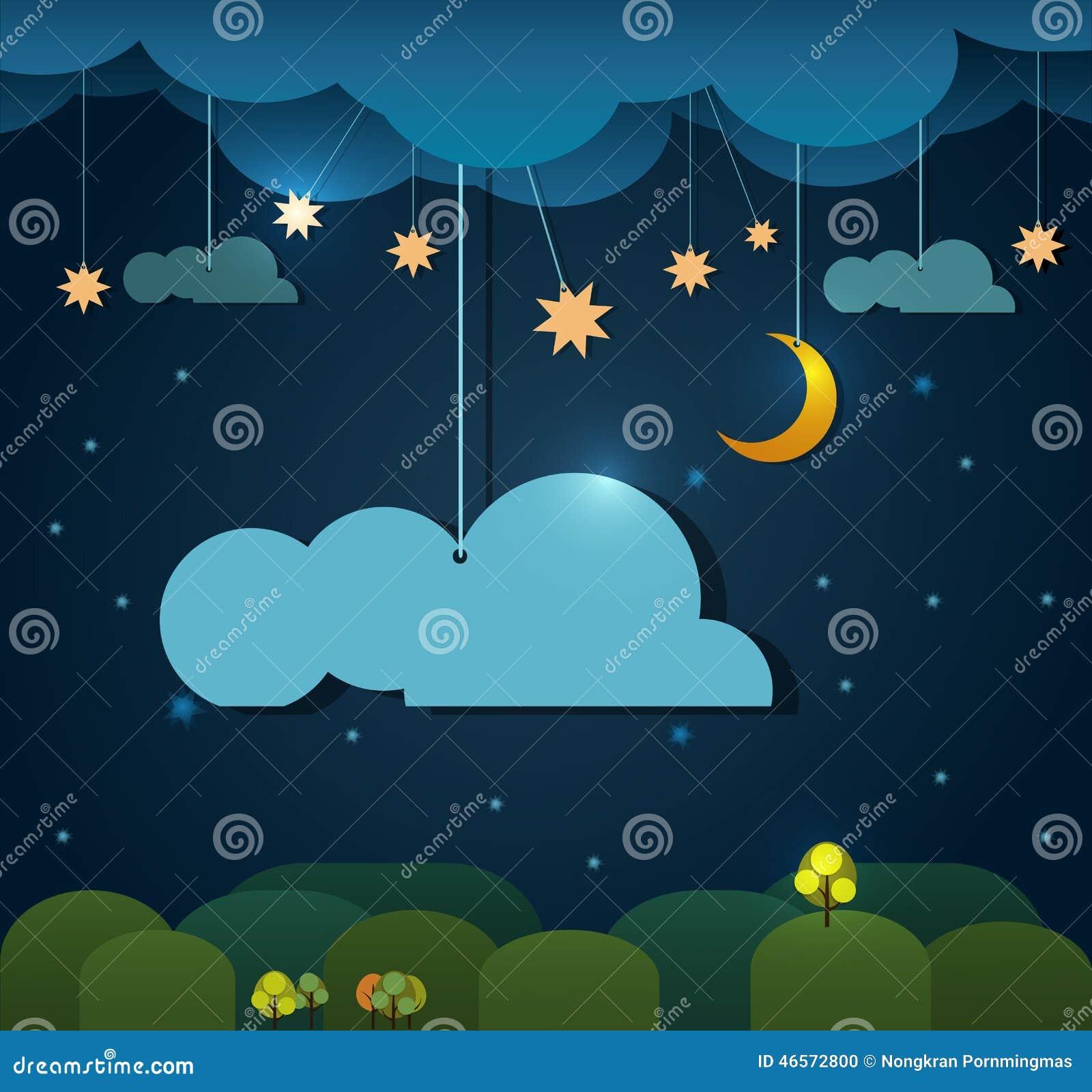 papier lune abstraite avec l 39 toile nuage et le ciel la nuit l ment vide de conception de nuage. Black Bedroom Furniture Sets. Home Design Ideas
