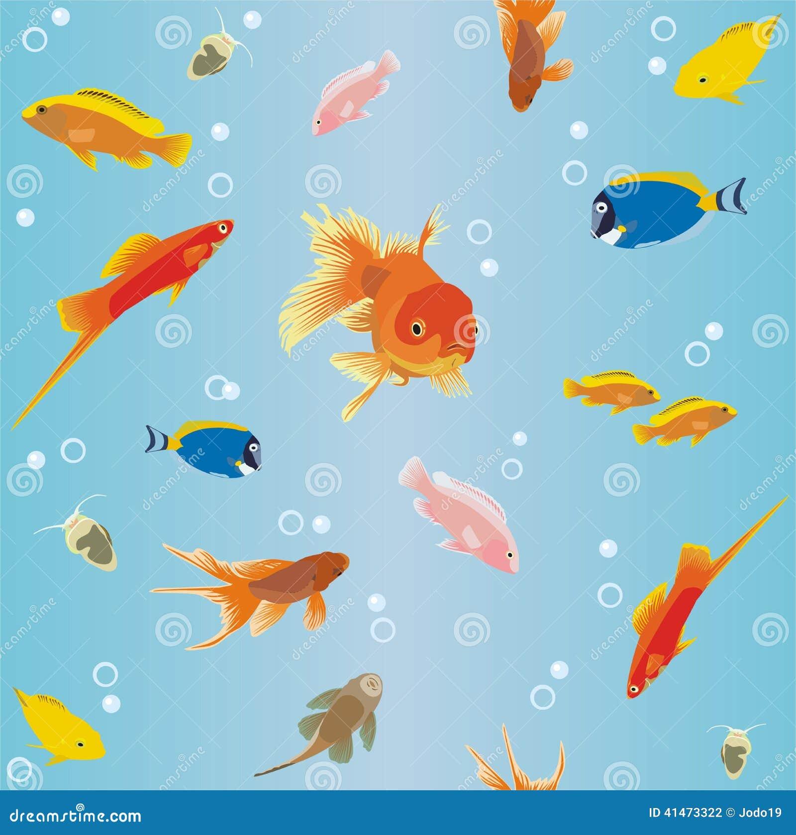 Papier peint avec des poissons illustration de vecteur image 41473322 - Papier peint poisson ...