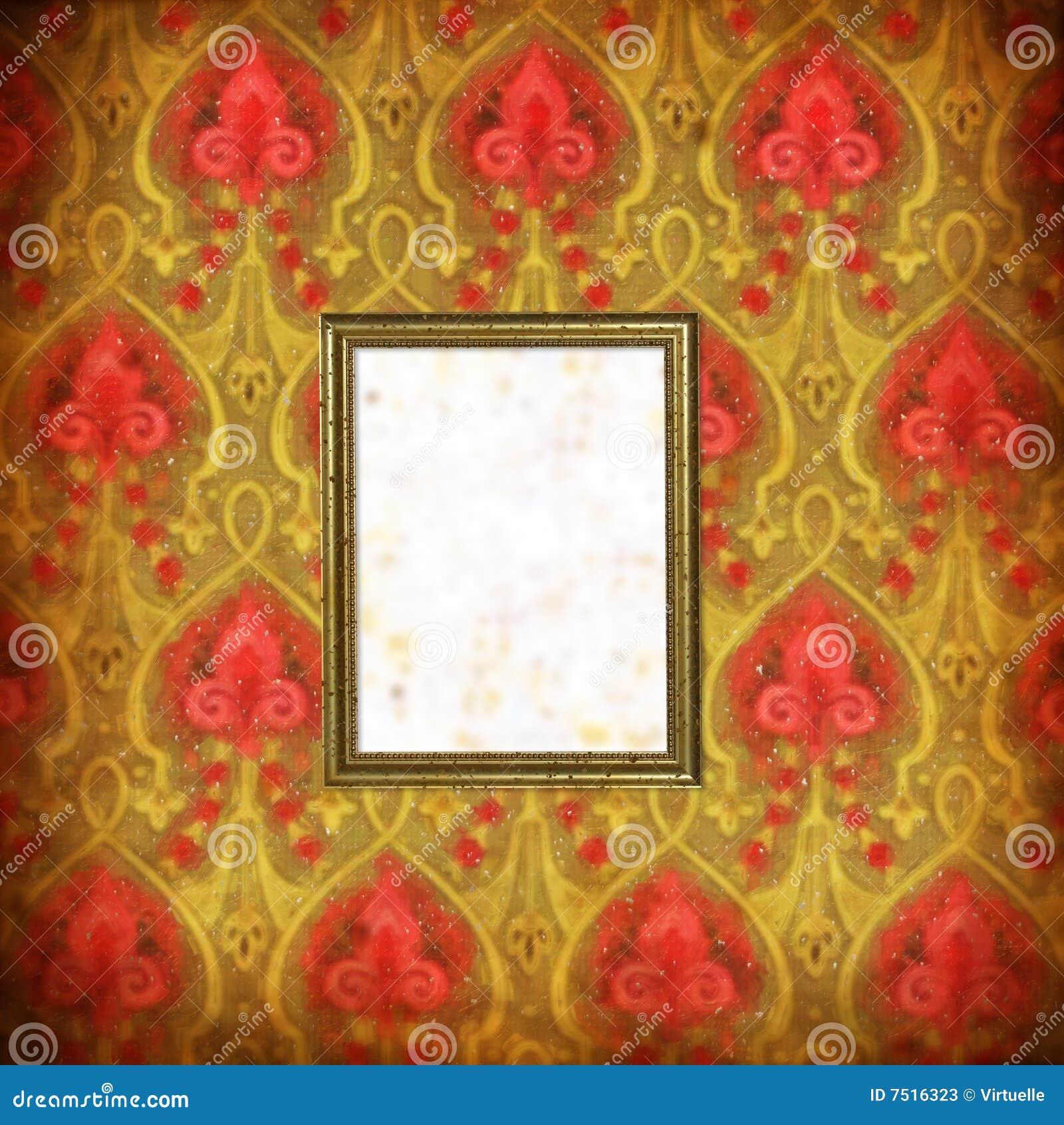 Papier peint avec les souillures et le cadre de tableau for Tableau avec papier peint