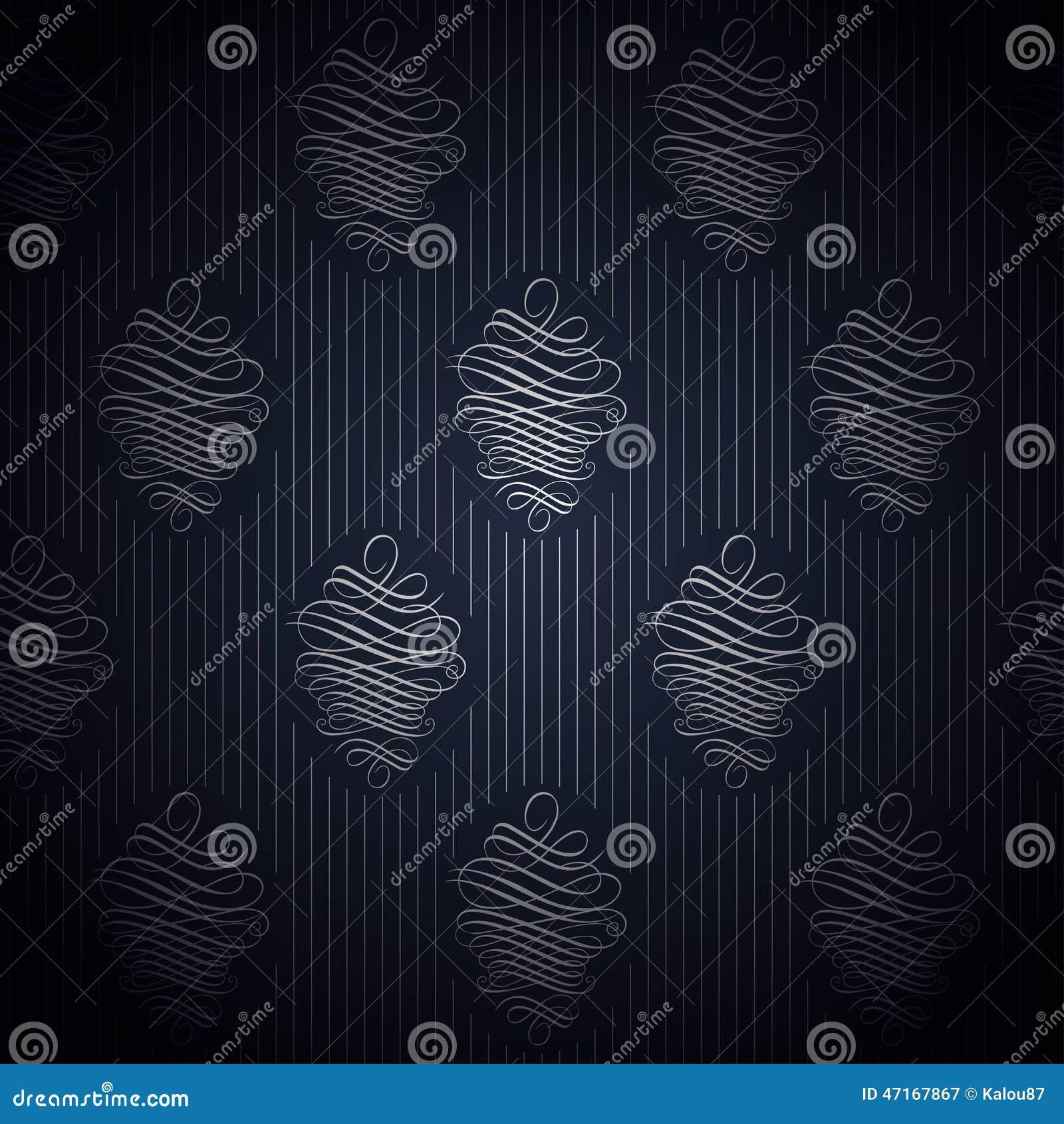 Papier peint bleu fonc sans couture dans le style r tro illustration de vect - Papier peint bleu fonce ...
