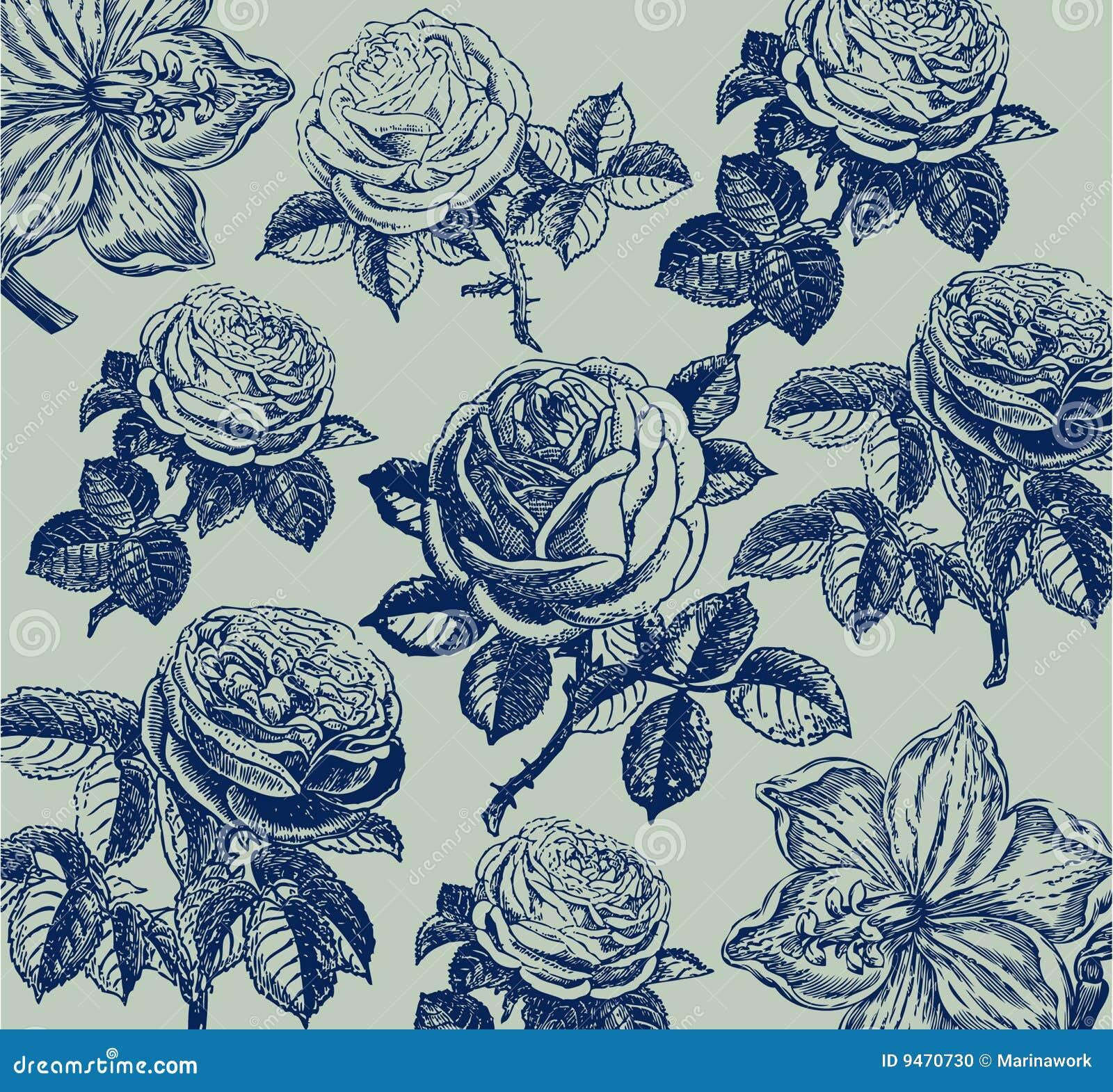 Papier peint classique avec une configuration de fleur.