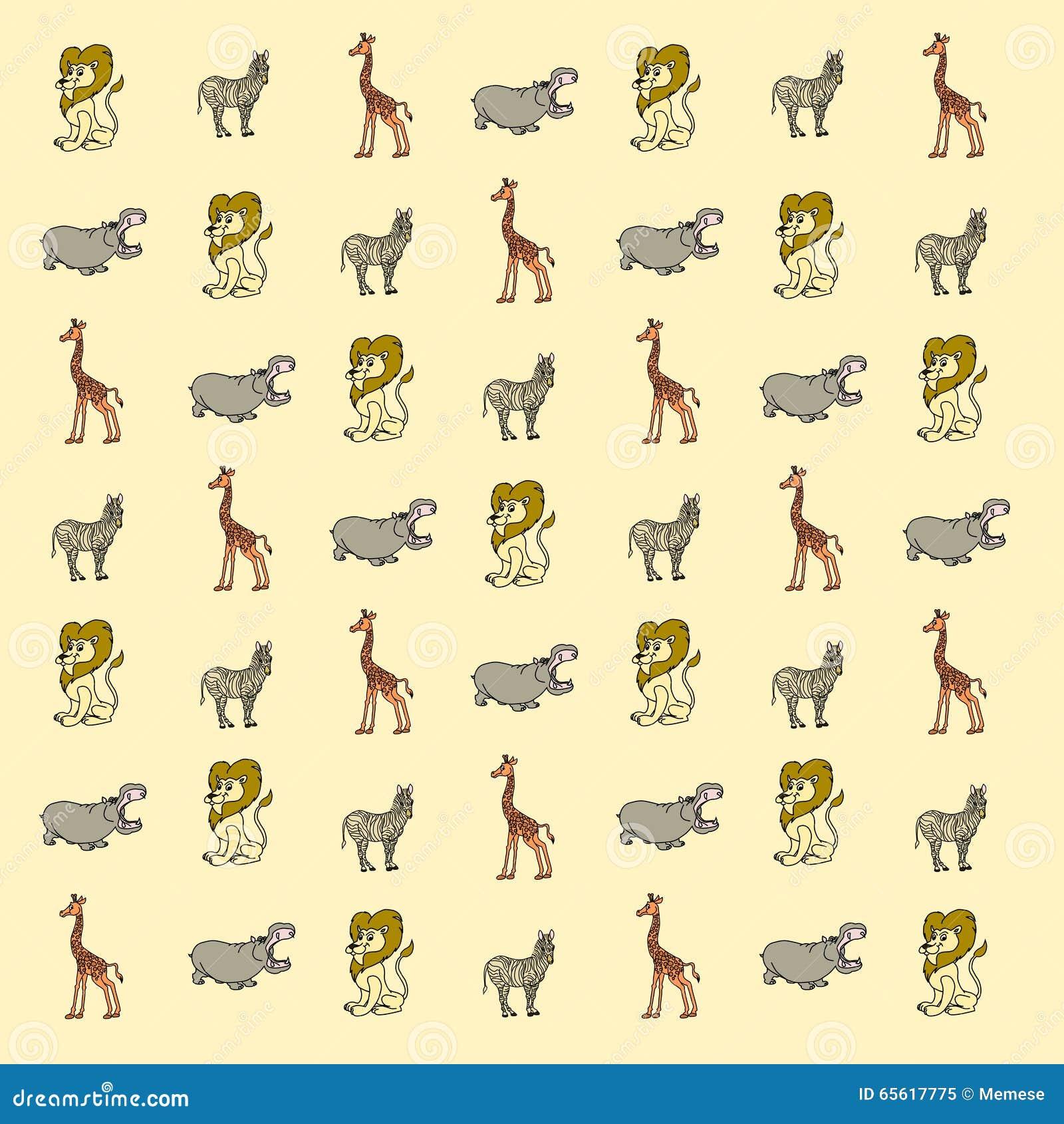 papier peint d 39 animaux de la savane de bande dessin e illustration stock image 65617775. Black Bedroom Furniture Sets. Home Design Ideas