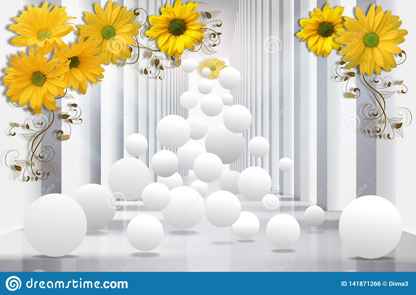 Papier peint 3D, tunnel d architecture avec les chrysanthèmes jaunes et sphères