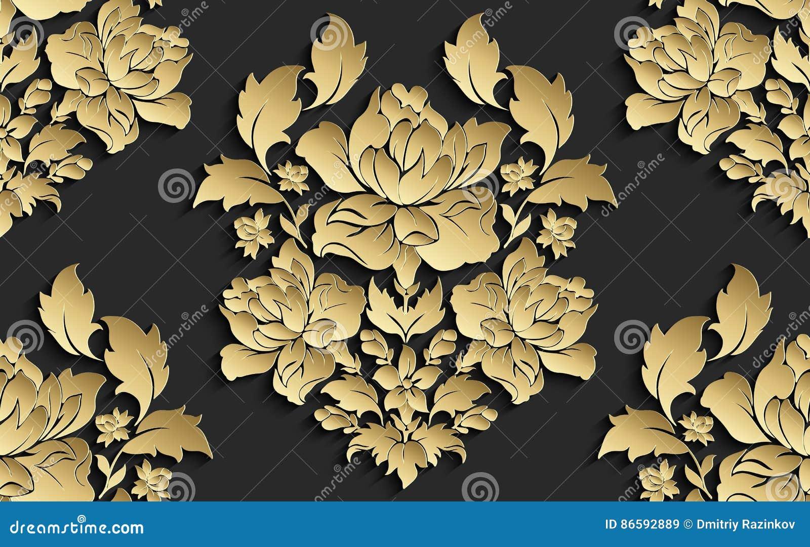Papier peint dans le style du baroque Modèle floral sans couture de damassé de vecteur Ornement de Rose