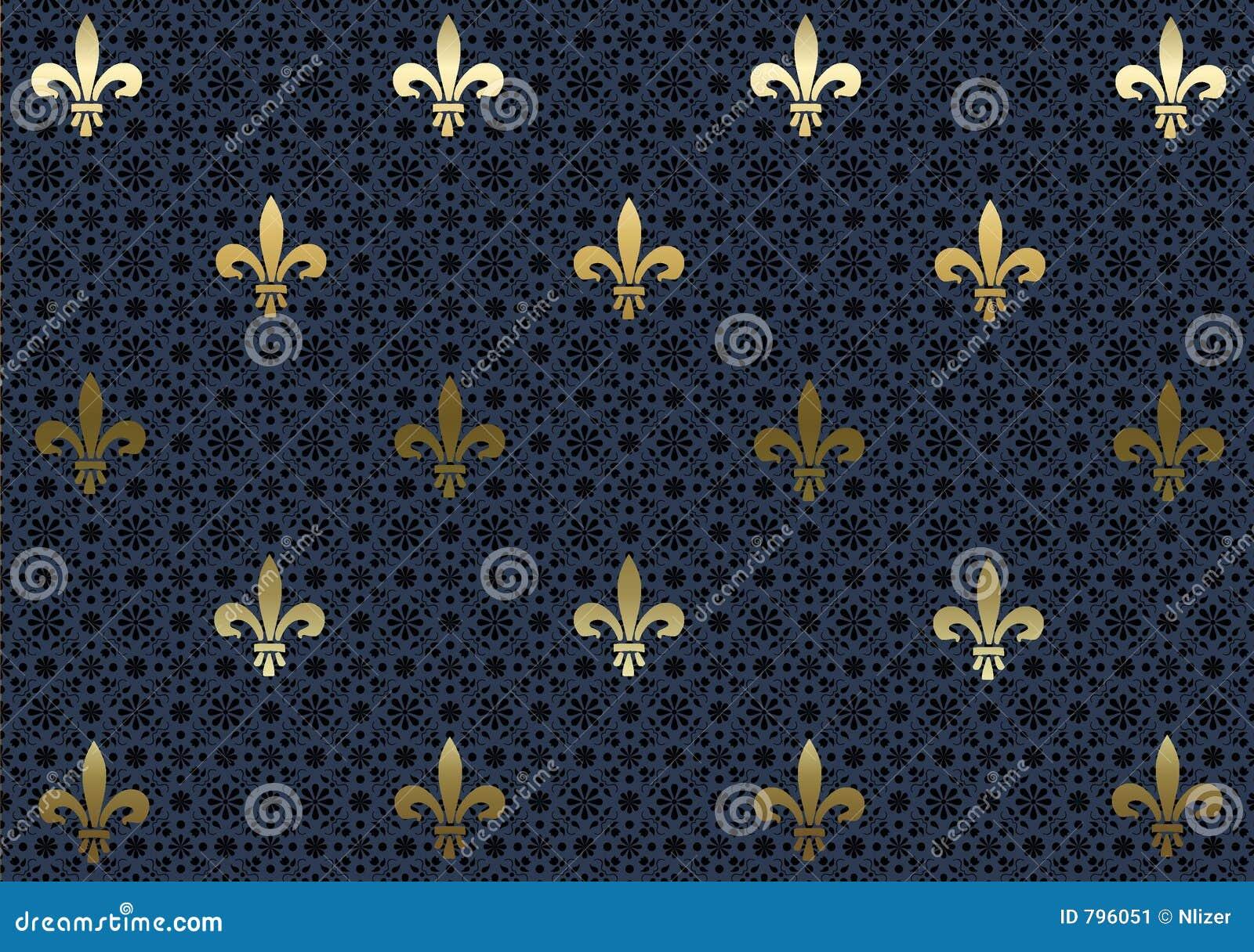Papier peint de fond de Dark-blue Fleur de Lis