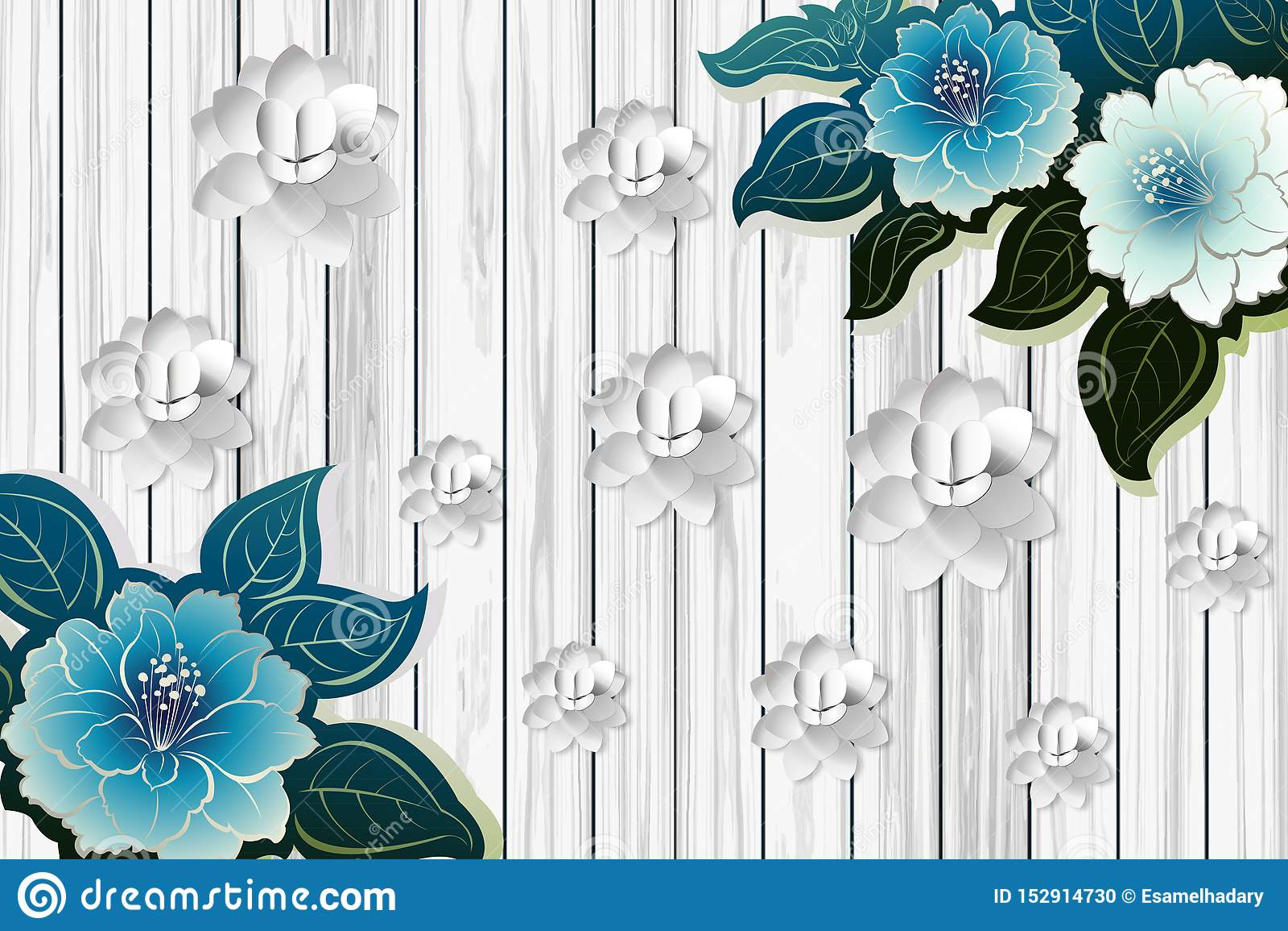 Papier Peint Turquoise Fleurs 3d feuilles vert