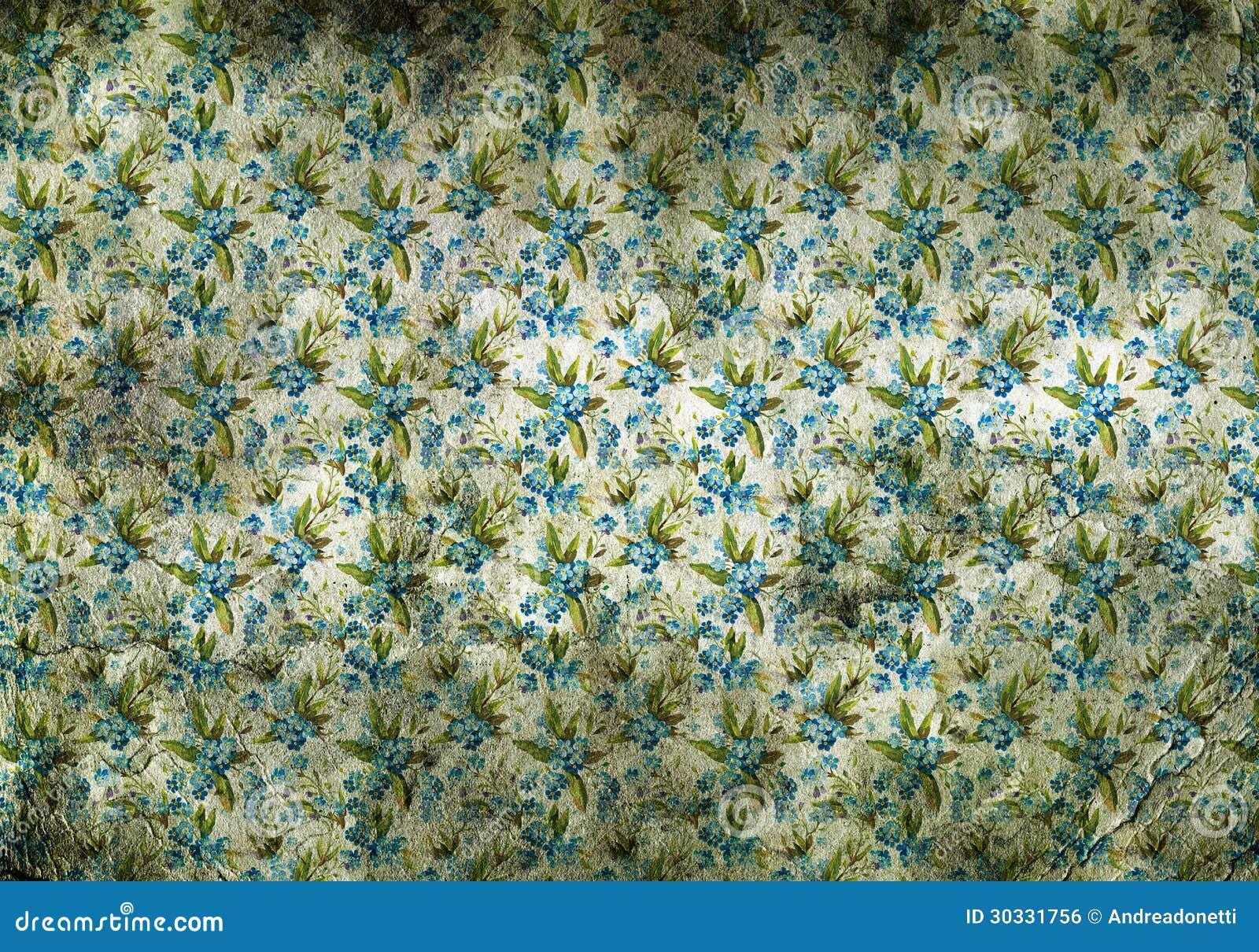 papier peint de vintage avec de petites fleurs bleues. Black Bedroom Furniture Sets. Home Design Ideas