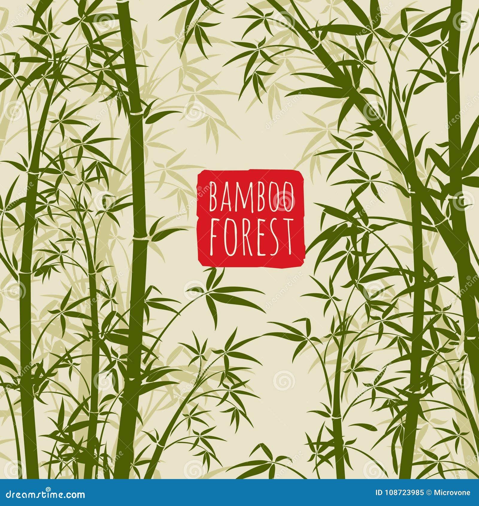 papier peint en bambou de vecteur de for t tropicale dans le style japonais et chinois d 39 art. Black Bedroom Furniture Sets. Home Design Ideas