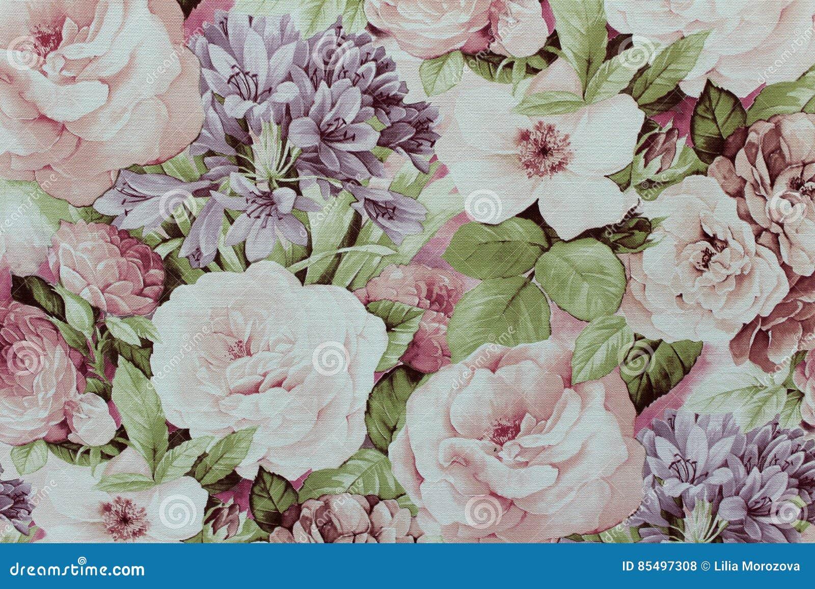 Papier Peint Floral De Fond Sur Le Mur Photo Stock Image Du Papier