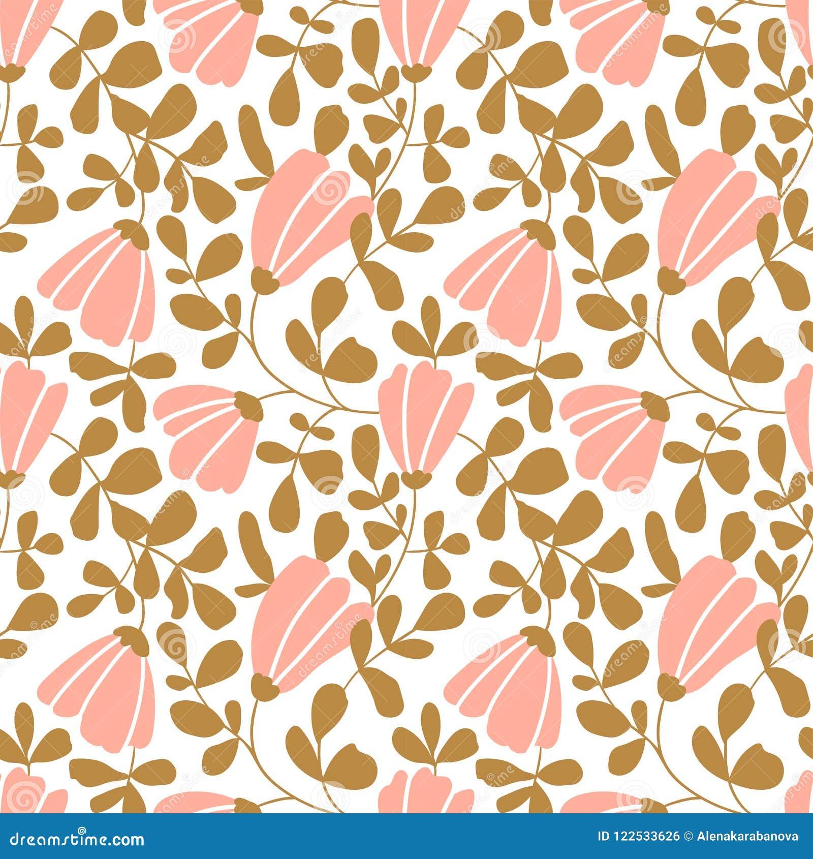 Papier peint floral de vecteur sans joint Modèle décoratif de vintage dans le style classique avec des fleurs et des brindilles
