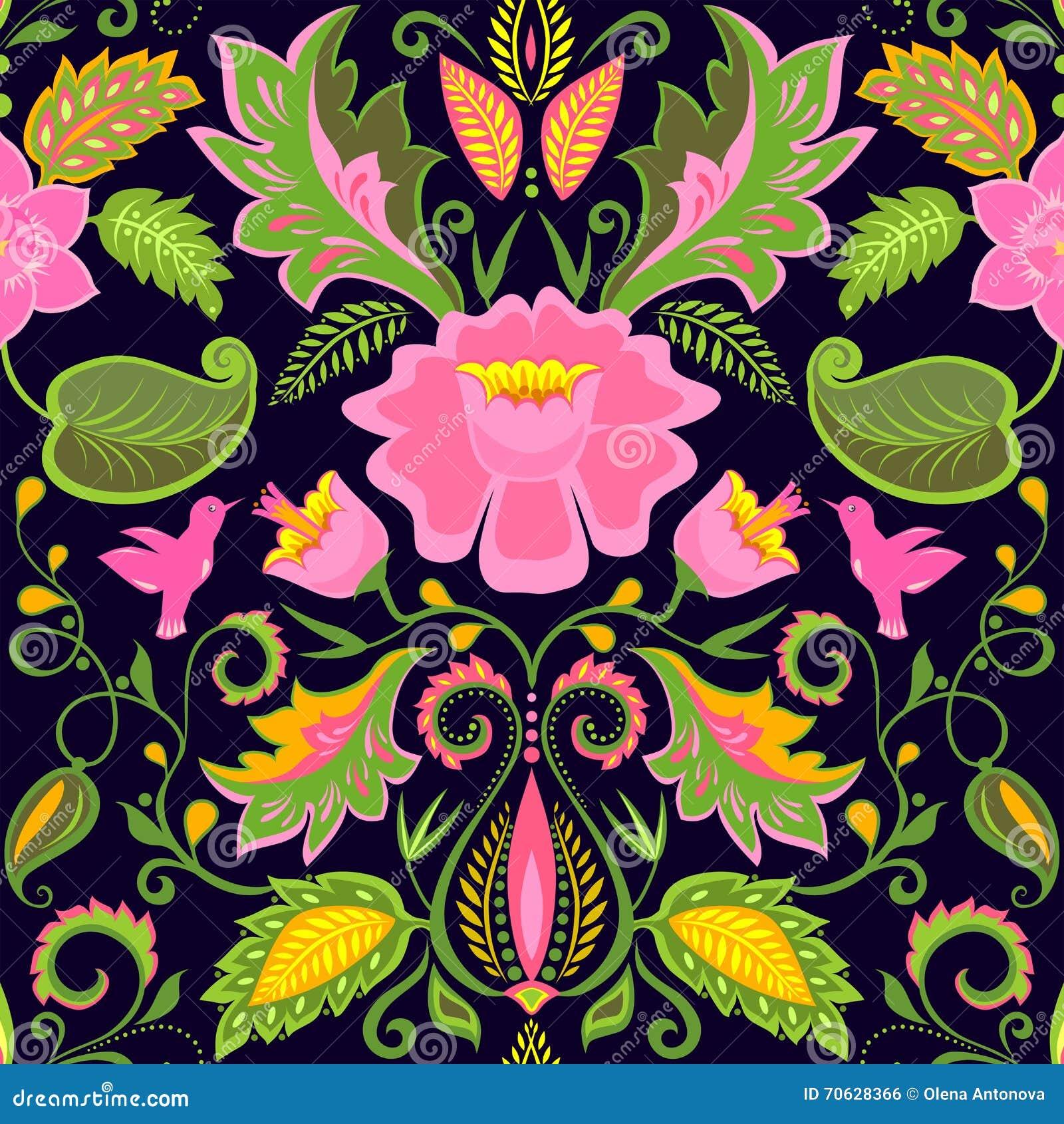 papier peint floral fleuri de vintage avec les fleurs et. Black Bedroom Furniture Sets. Home Design Ideas