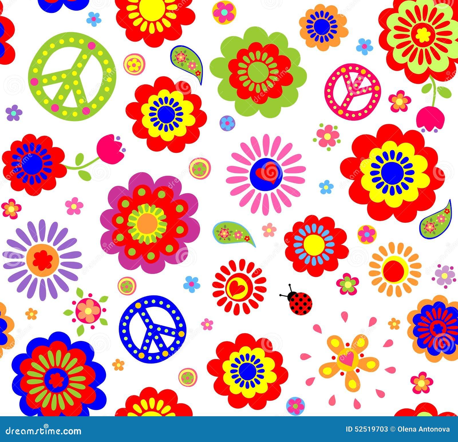 papier peint hippie illustration de vecteur image 52519703. Black Bedroom Furniture Sets. Home Design Ideas
