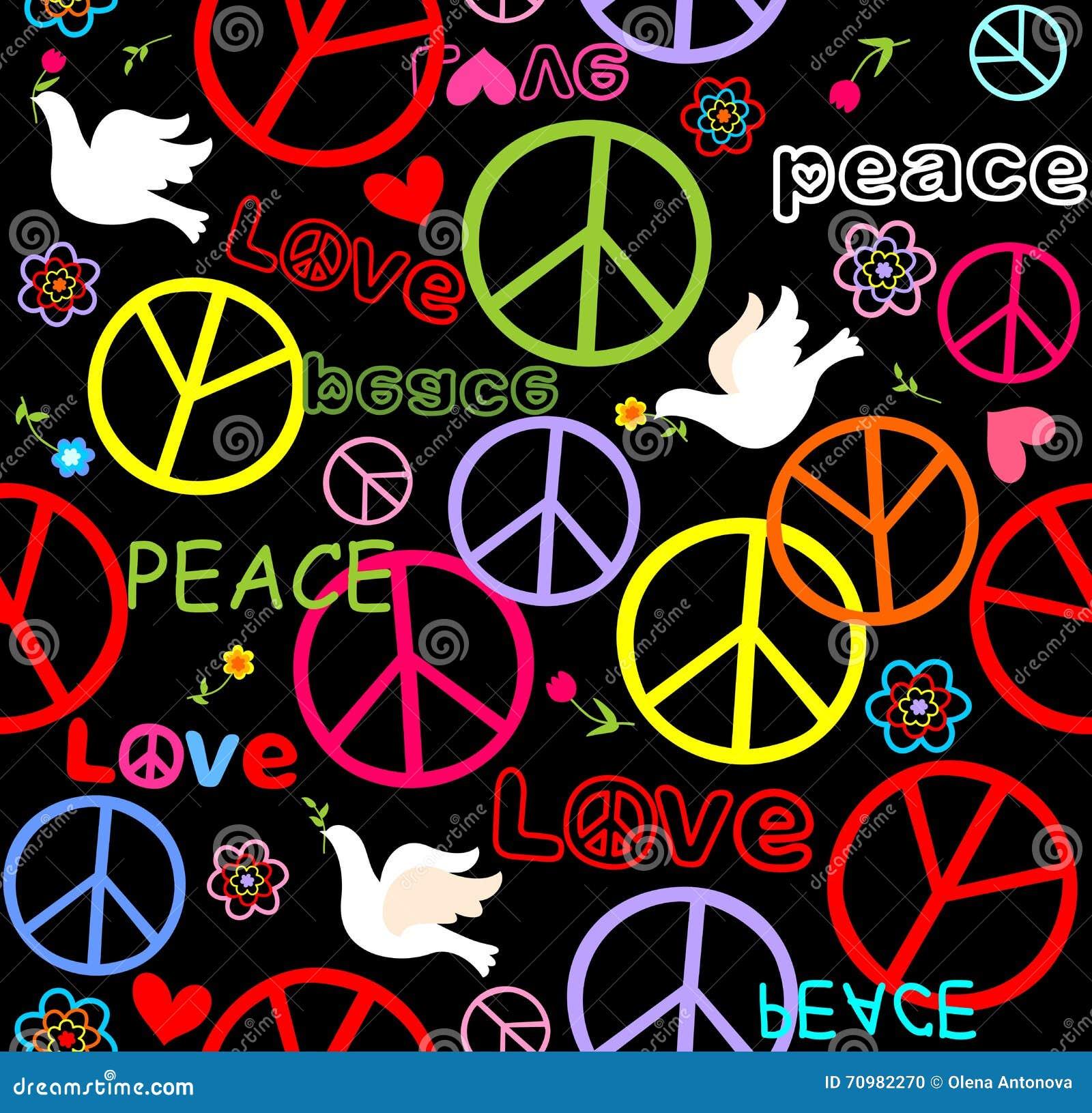 papier peint hippie avec le symbole et les colombes de paix illustration de vecteur. Black Bedroom Furniture Sets. Home Design Ideas