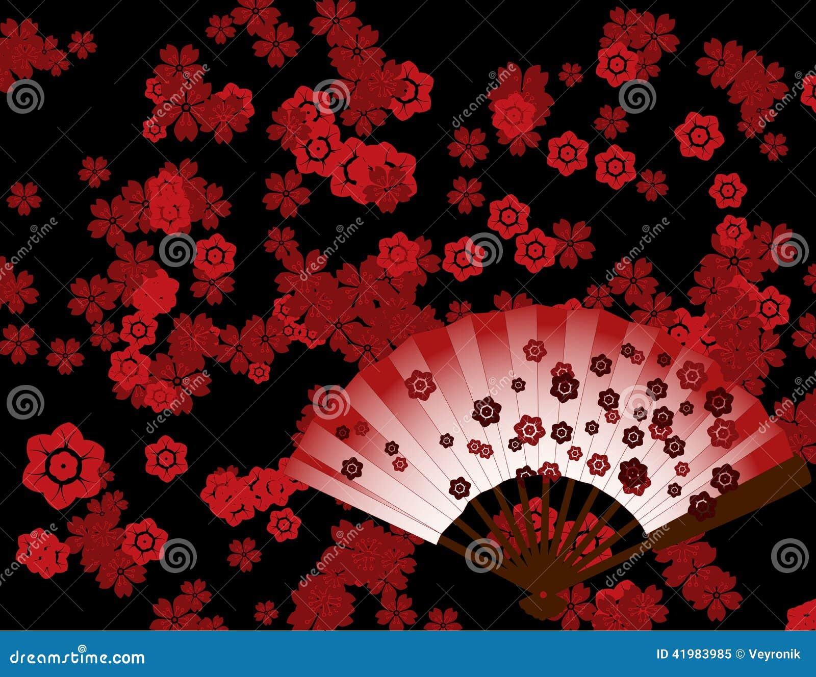 Papier Peint Japonais De Fleur Avec La Fan Illustration De Vecteur