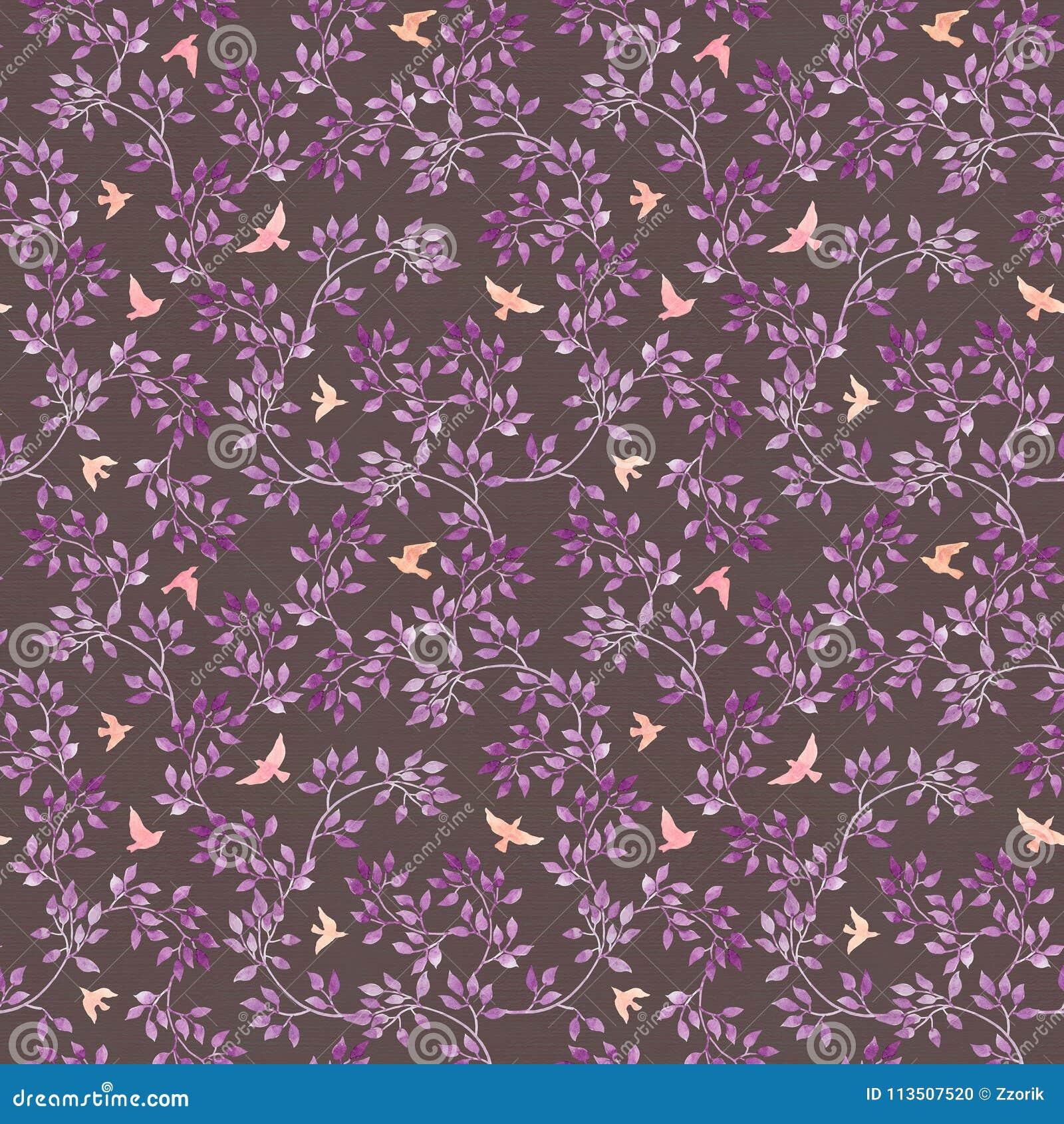 Papier peint romantique sans couture - feuilles et oiseaux bleu-violets peints à la main Art d aquarelle sur le fond foncé