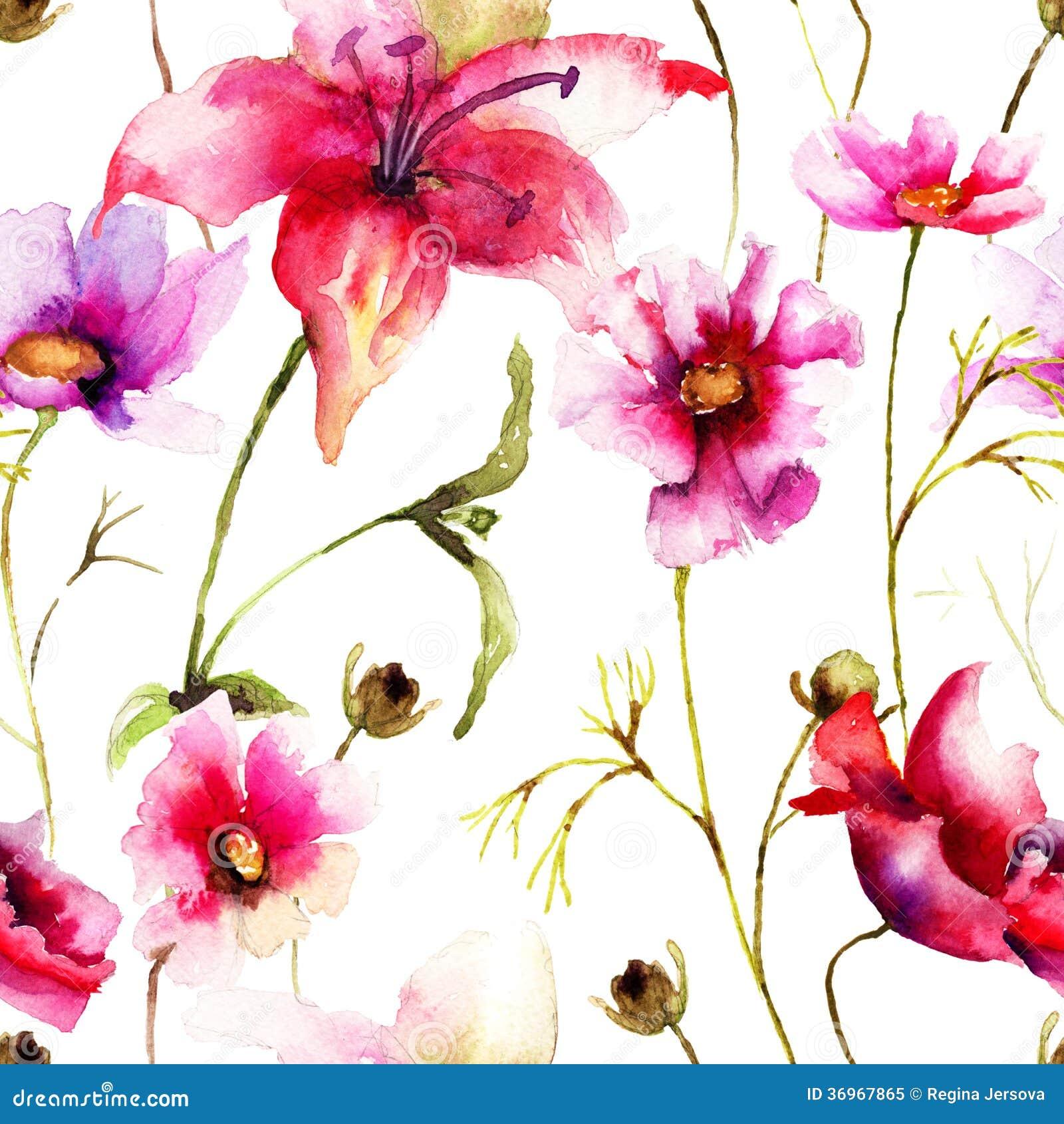 papier peint sans couture avec la fleur stylis e photo libre de droits image 36967865. Black Bedroom Furniture Sets. Home Design Ideas