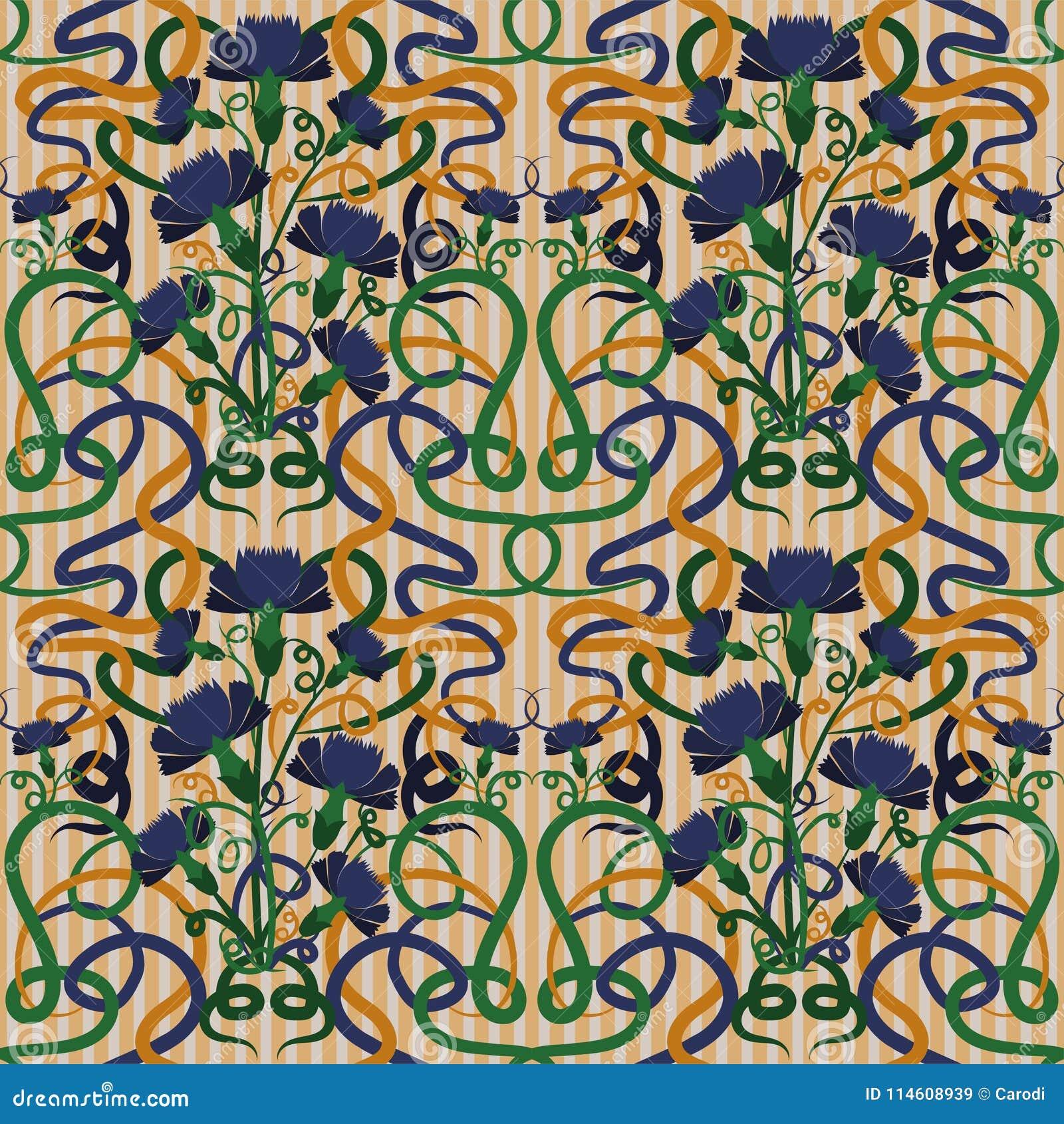 Papier Peint Sans Couture Avec Le Bleu De Bleuet Dans Le Style D Art
