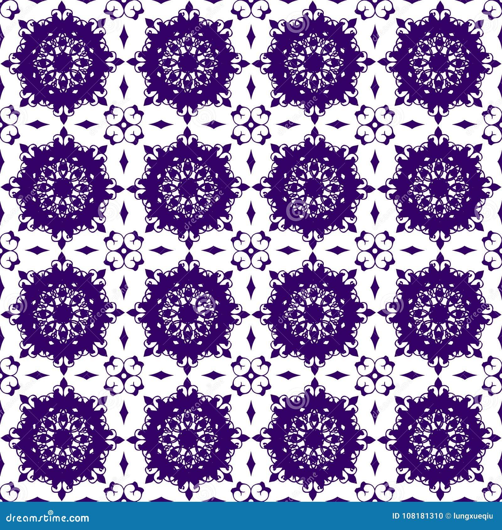 Papier peint sans couture de texture de modèle de Violet Floral Beautiful Royal Vintage d abrégé sur pourpre bleu oriental orneme
